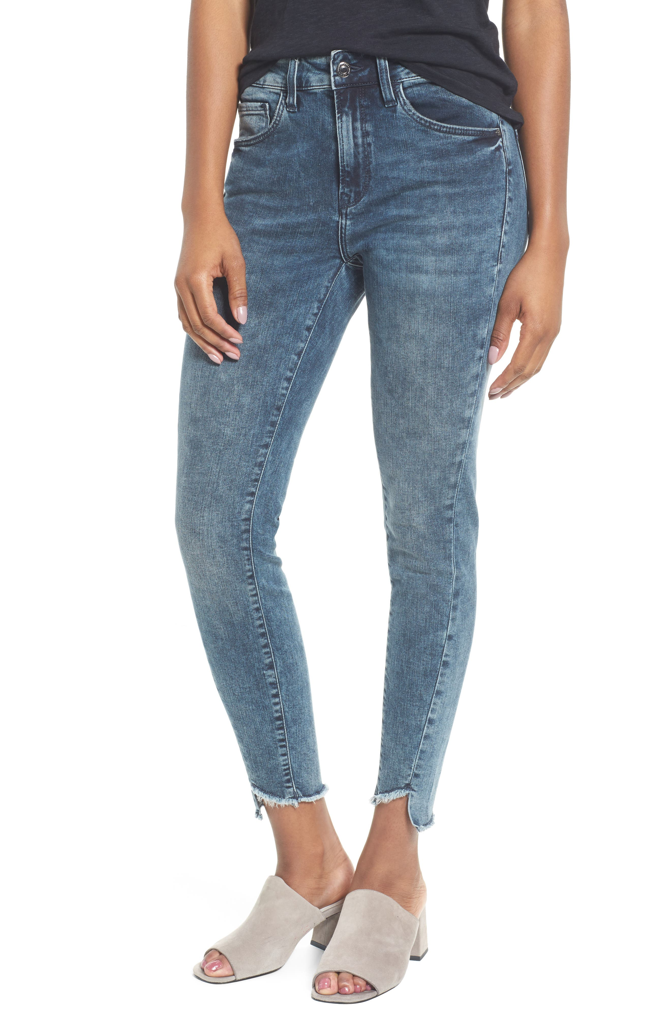 Tess Twisted Step Hem Skinny Jeans,                             Main thumbnail 1, color,                             401