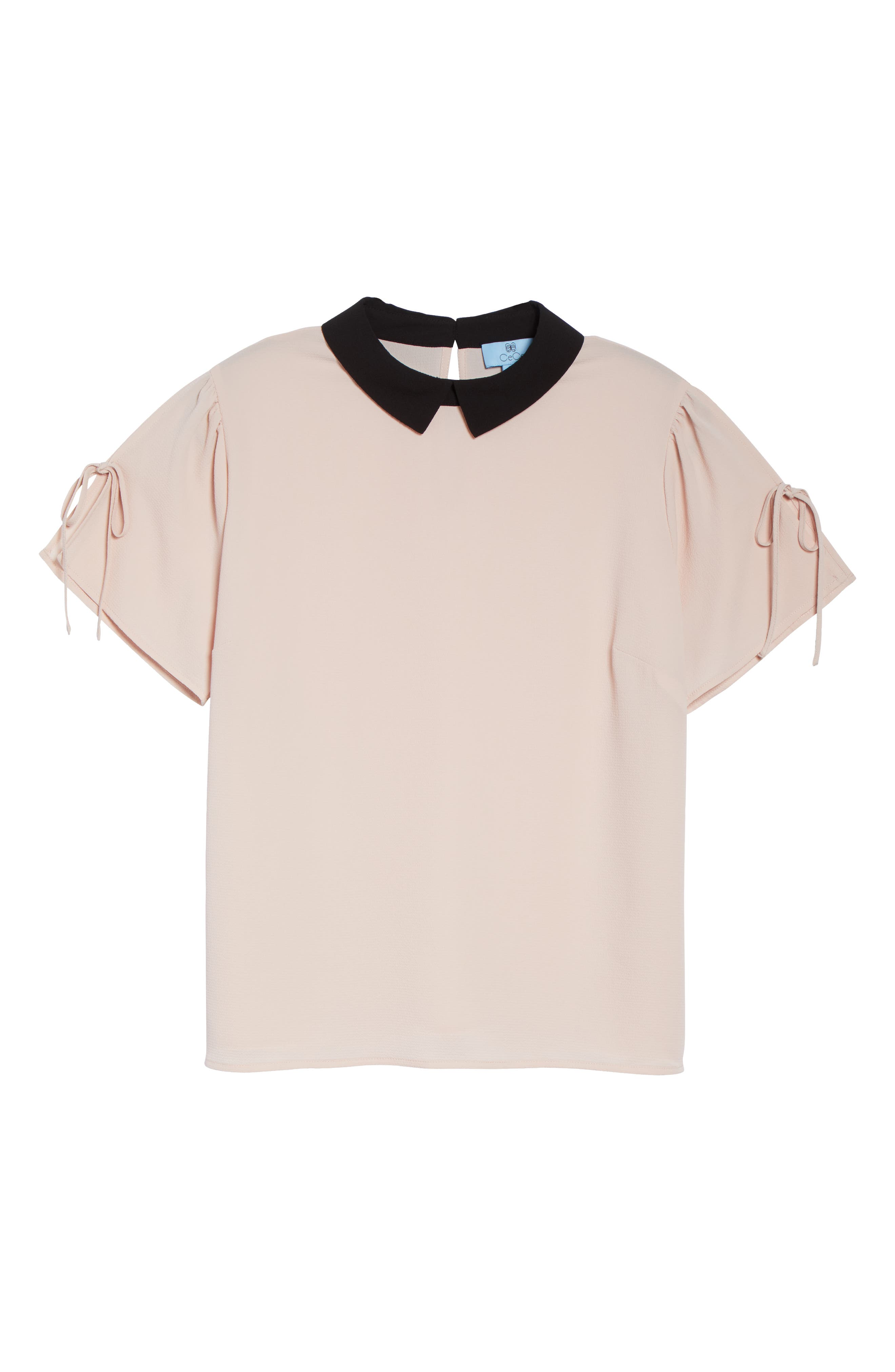 Contrast Collar Tie Sleeve Top,                             Alternate thumbnail 6, color,                             FADED PINK