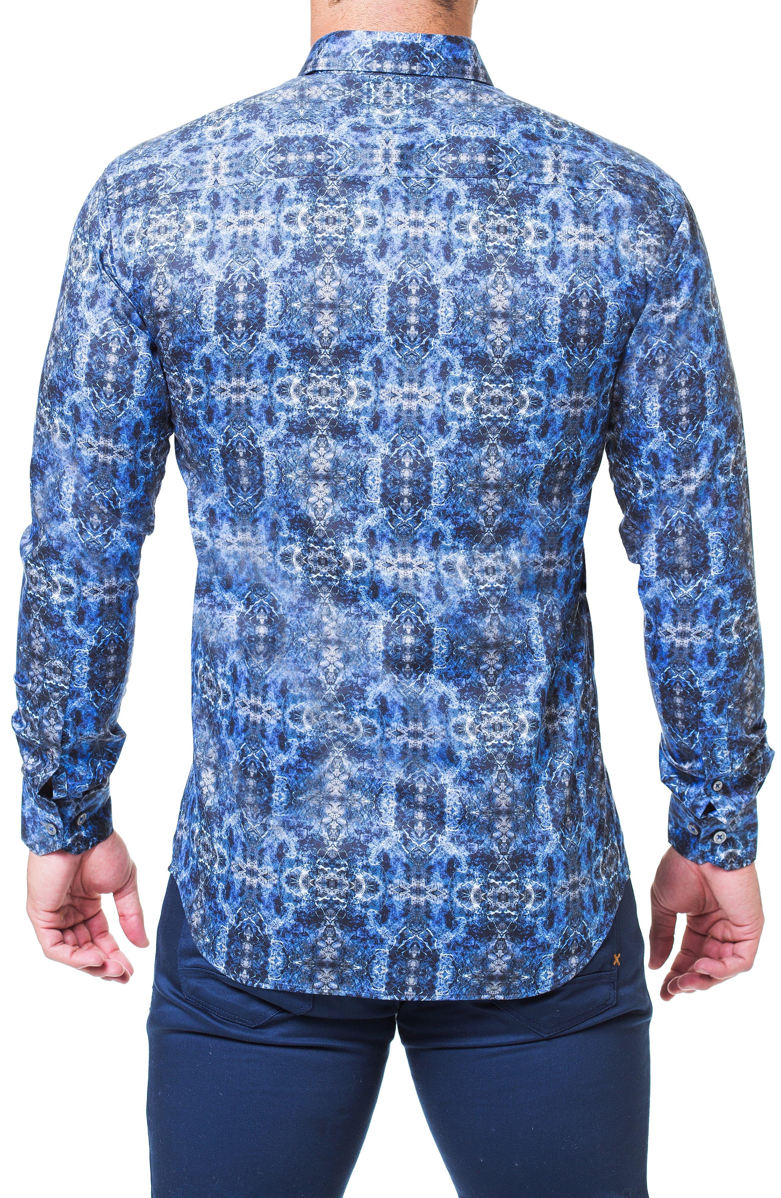 Fibonacci Desigual Regular Fit Print Sport Shirt,                             Alternate thumbnail 2, color,                             BLUE