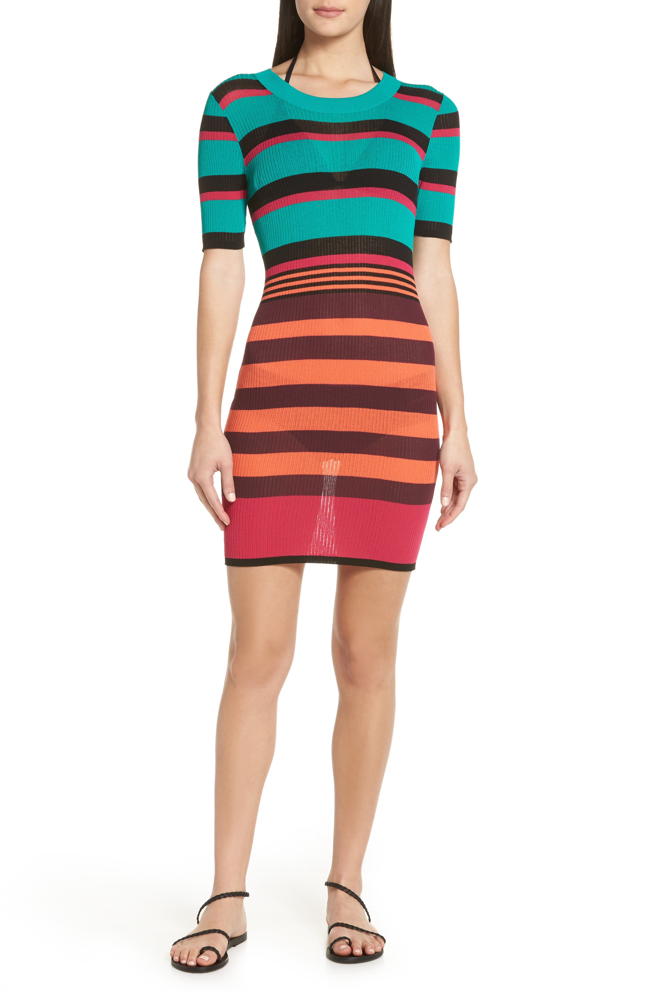DVF Stripe Ribbed Cover-Up Sweater Dress,                         Main,                         color, BRIGHT BLUE
