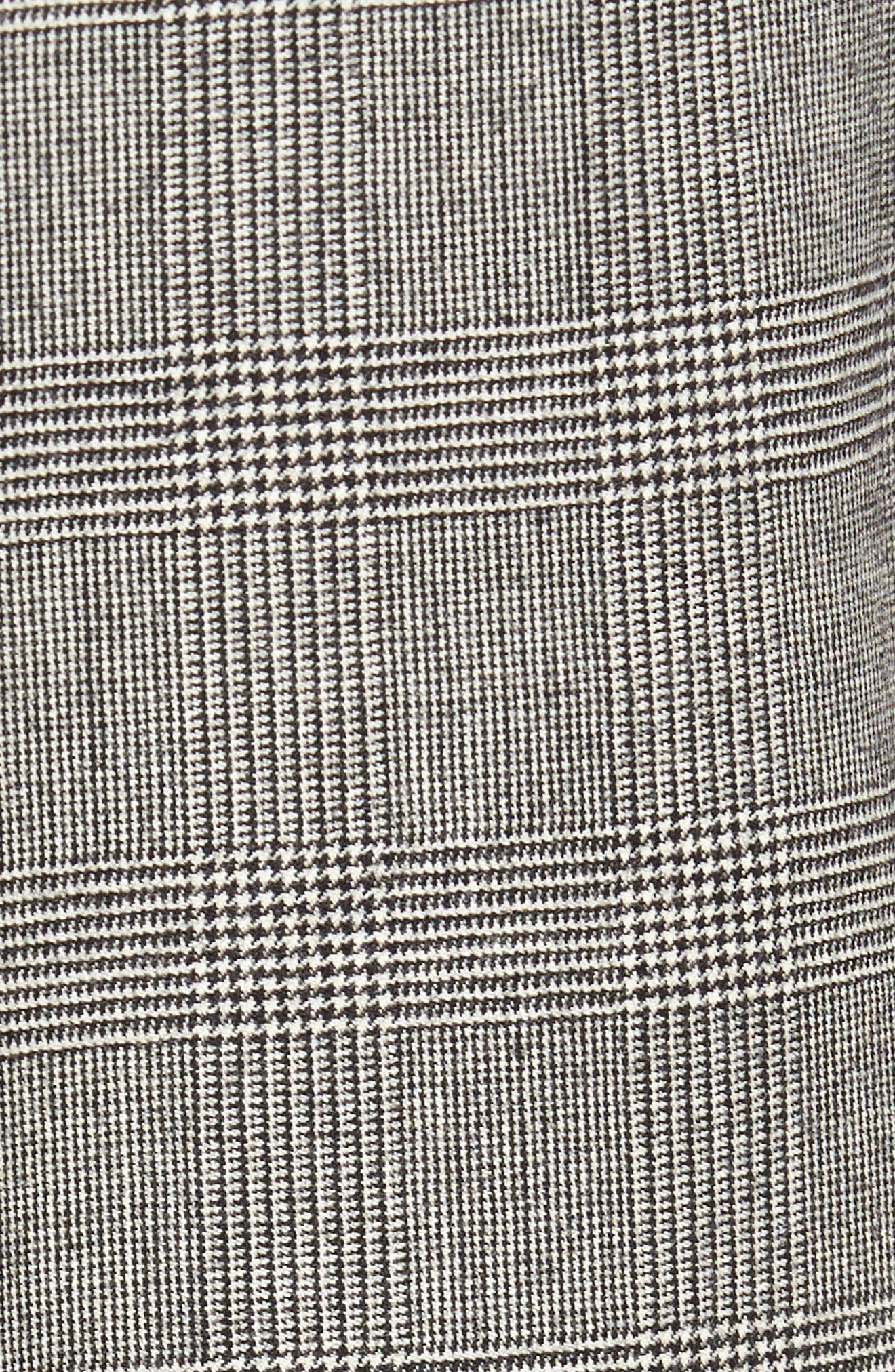 Flat Front Stretch Plaid Wool Trousers,                             Alternate thumbnail 2, color,                             BLACK/ WHITE