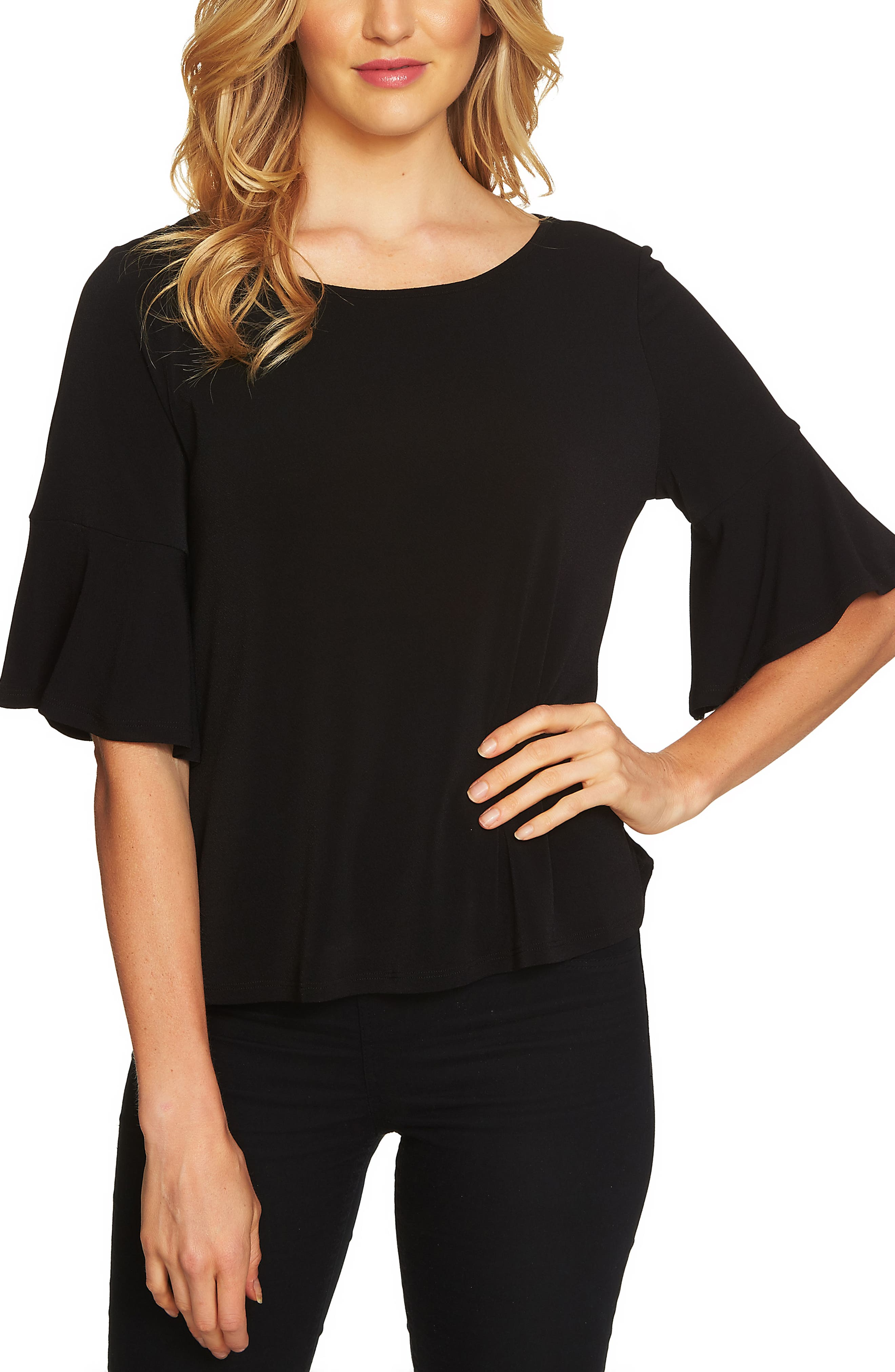 Ruffle Sleeve Crepe Knit Top,                         Main,                         color, 001
