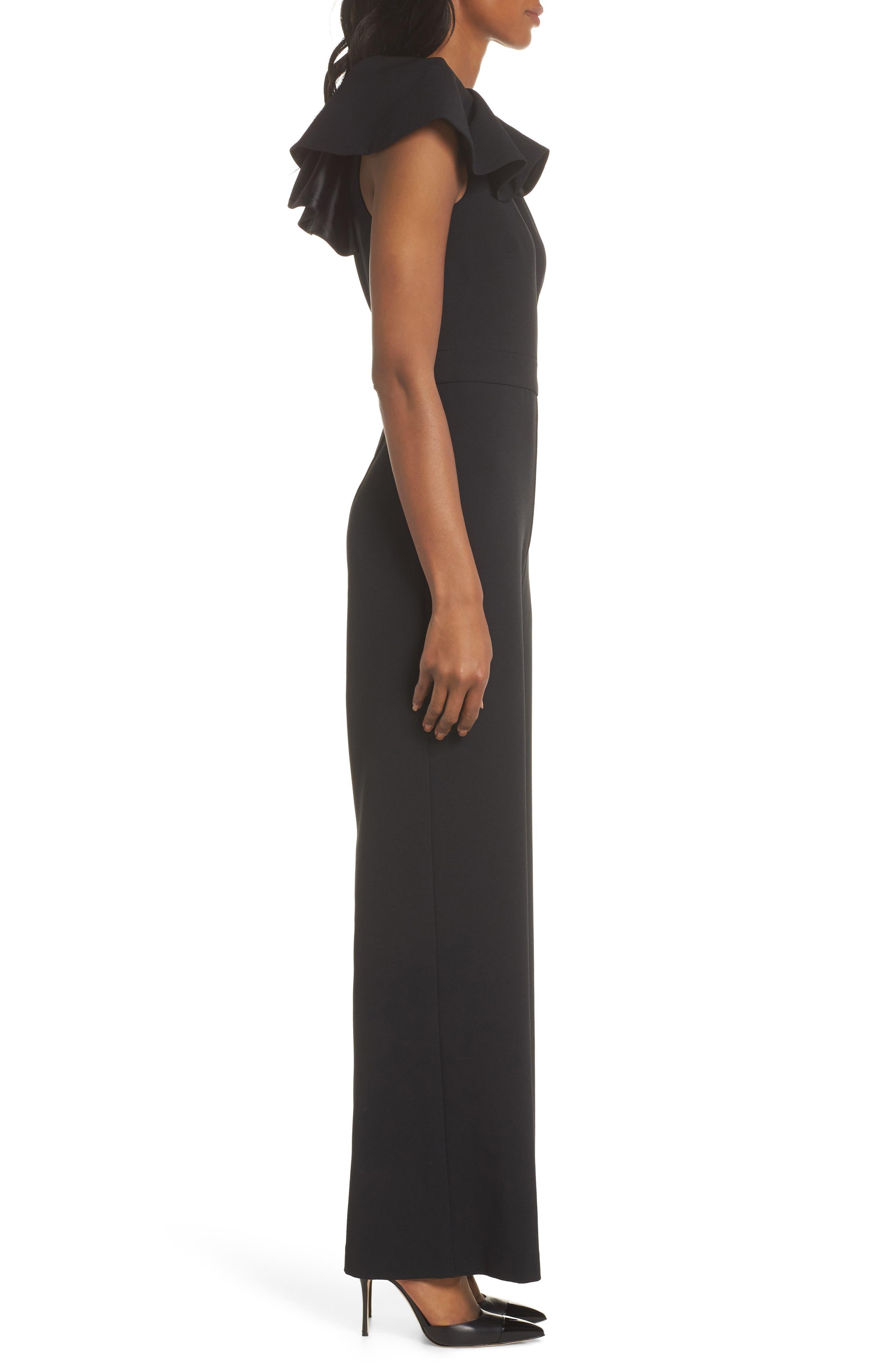 One-Shoulder Ruffle Crepe Jumpsuit,                             Alternate thumbnail 3, color,                             BLACK