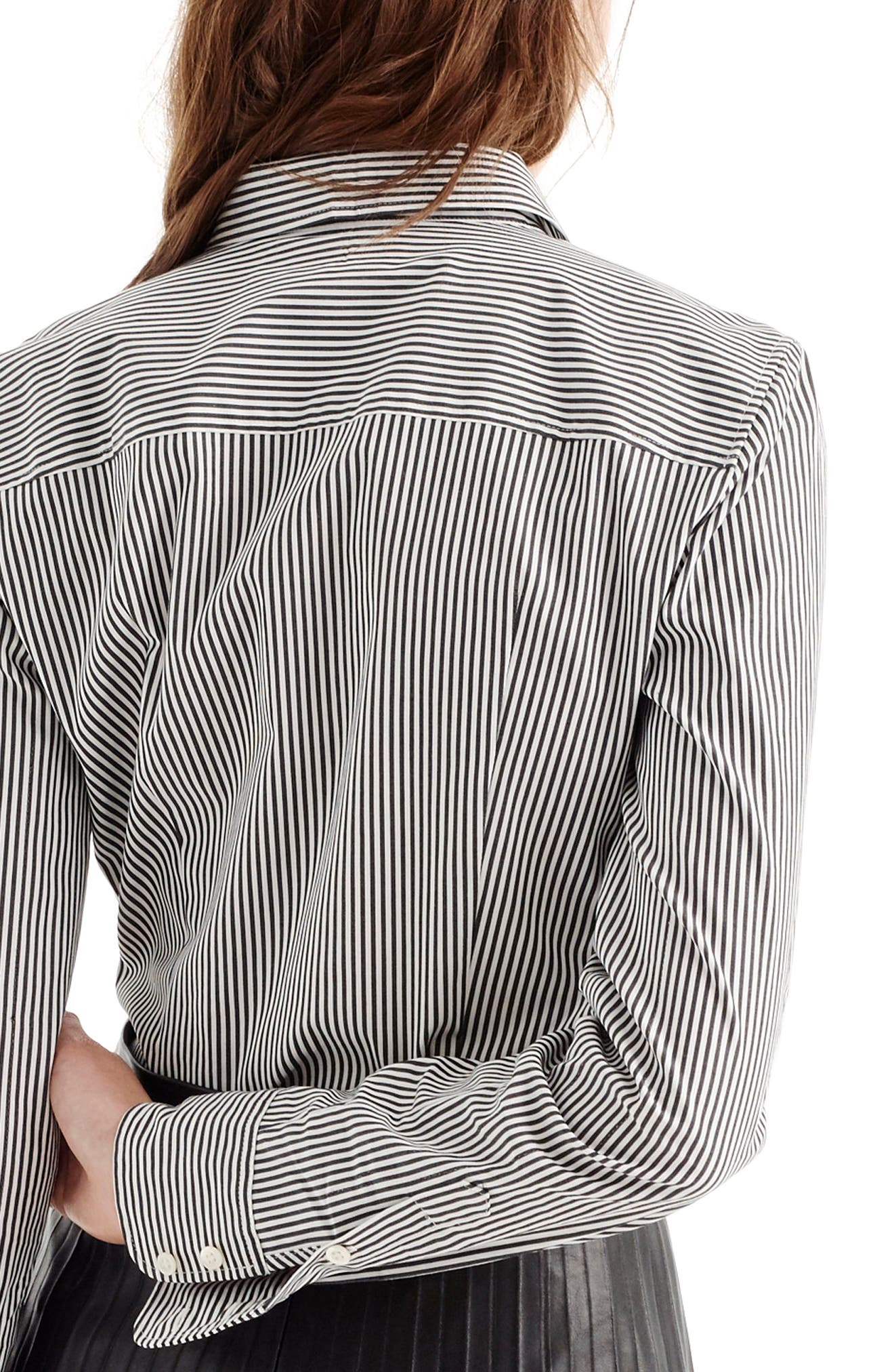 Perfect Classic Stripe Stretch Cotton Shirt,                             Alternate thumbnail 2, color,                             001