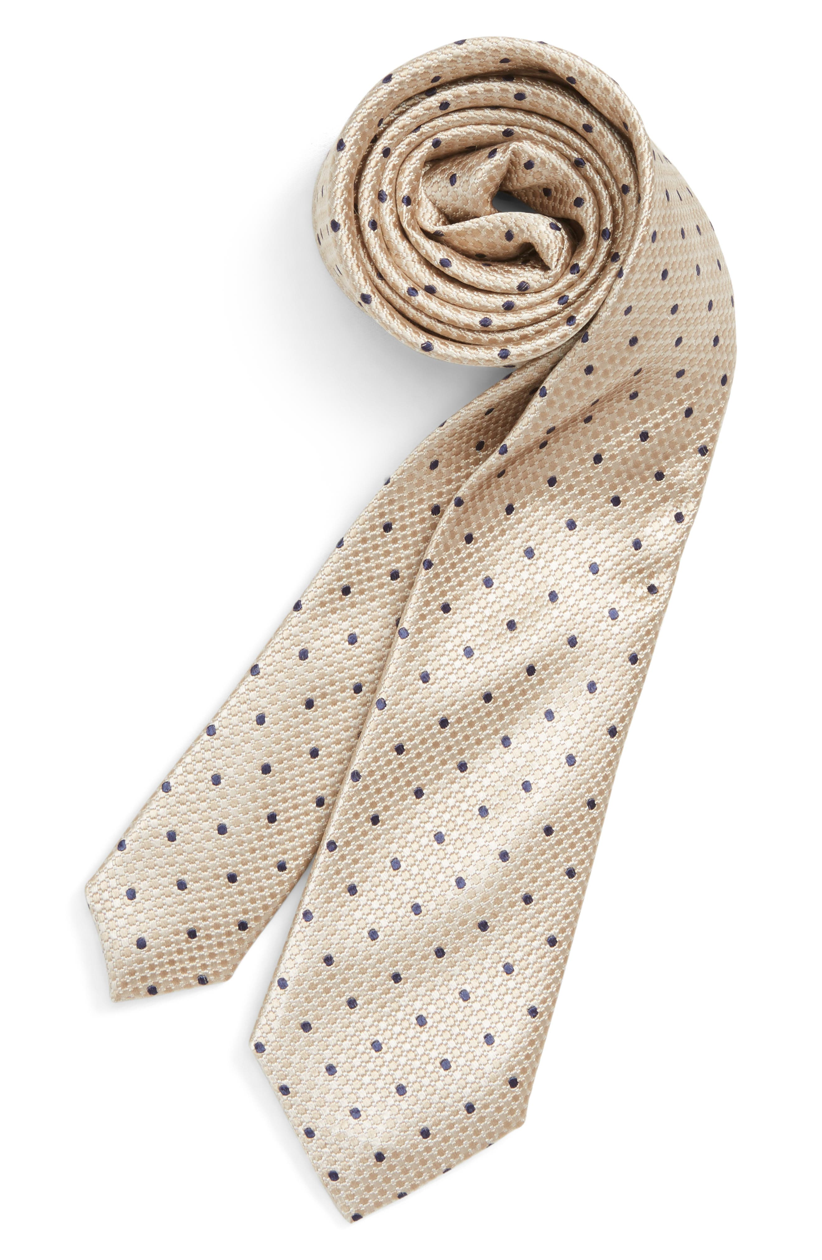 Dot Silk Tie,                             Main thumbnail 1, color,                             TAUPE