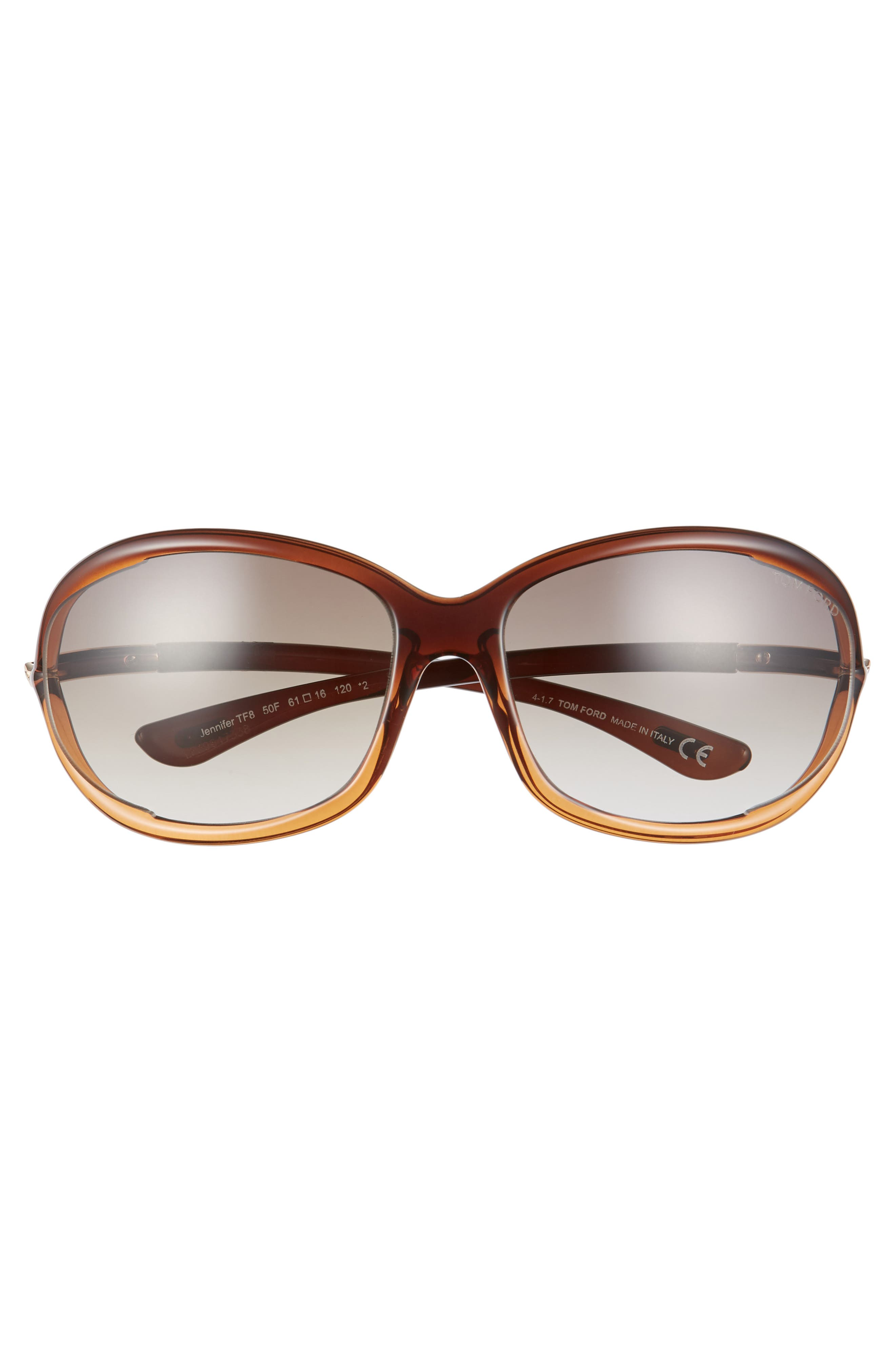 'Jennifer' 61mm Oval Oversize Frame Sunglasses,                             Alternate thumbnail 3, color,                             BROWN GRADIENT/ LIGHT ORANGE