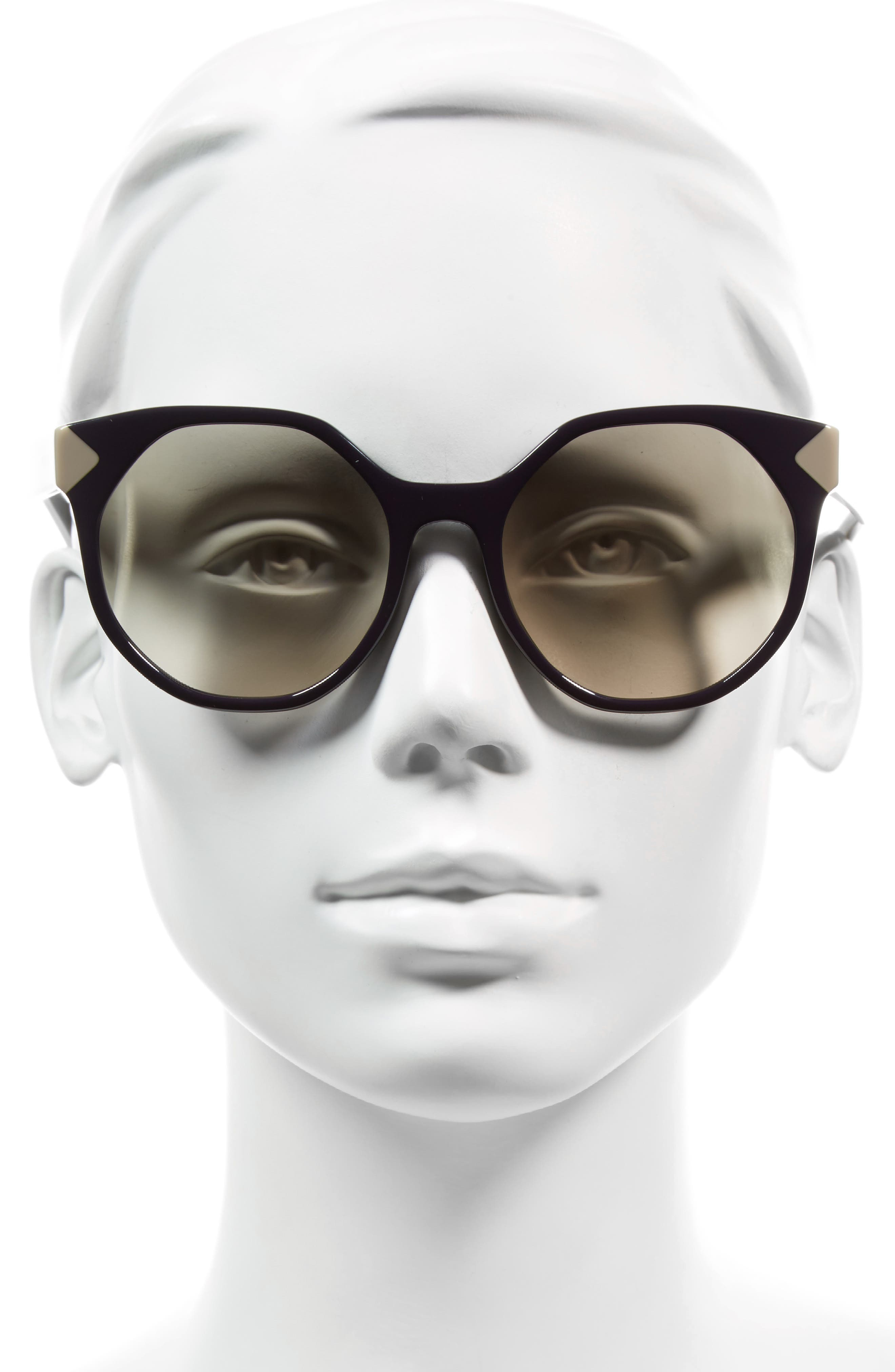 55mm Gradient Geometric Sunglasses,                             Alternate thumbnail 6, color,
