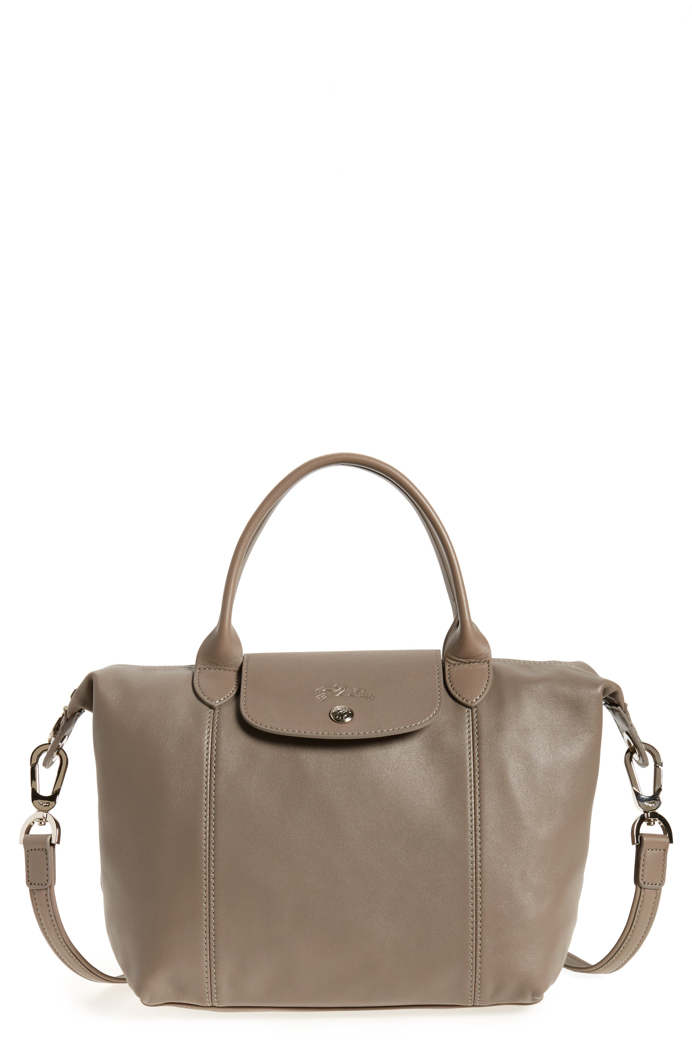 Small 'Le Pliage Cuir' Leather Top Handle Tote,                             Main thumbnail 2, color,