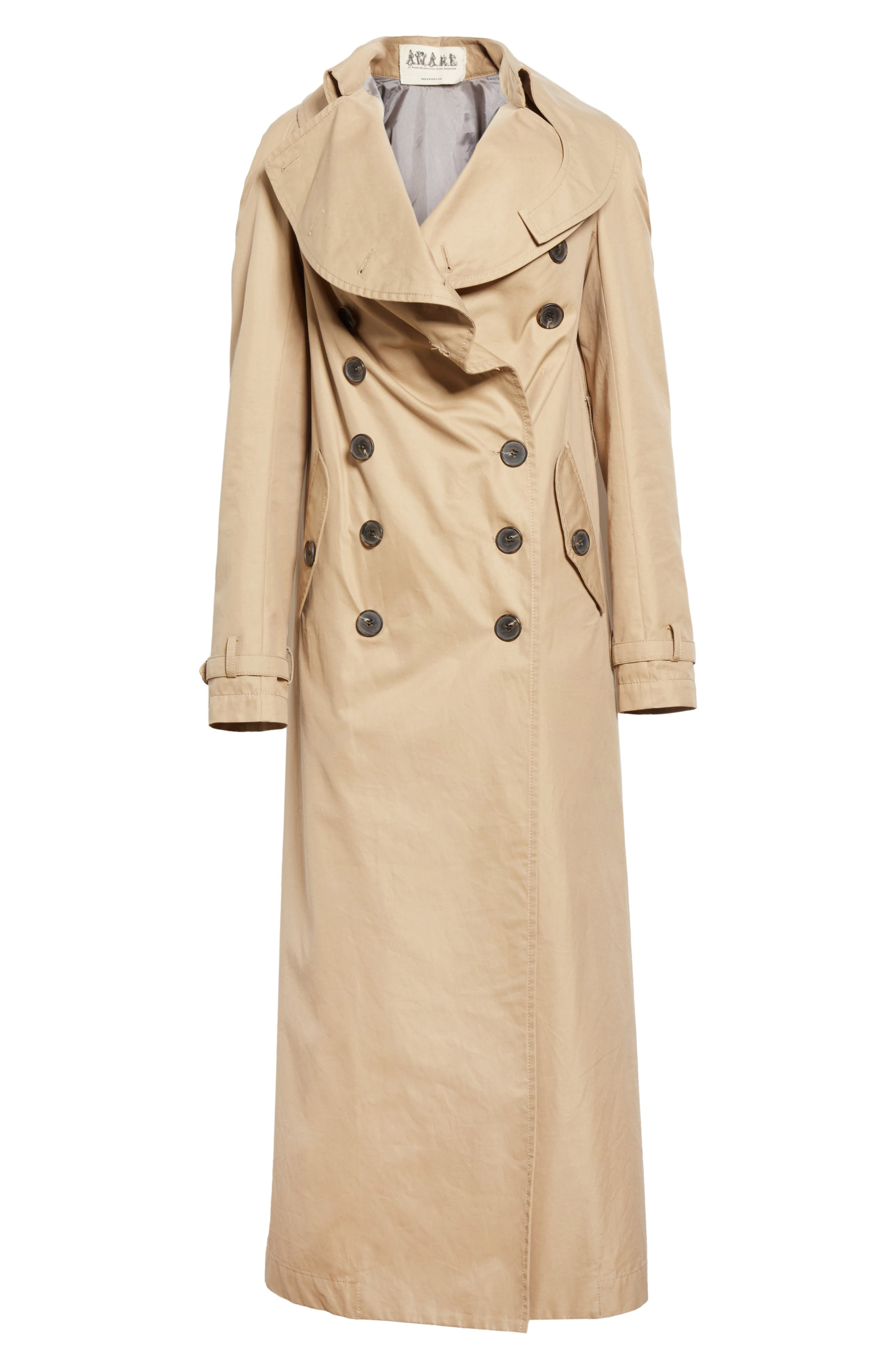 A.W.A.K.E.,                             Oversized Cotton Trench Coat,                             Alternate thumbnail 5, color,                             250