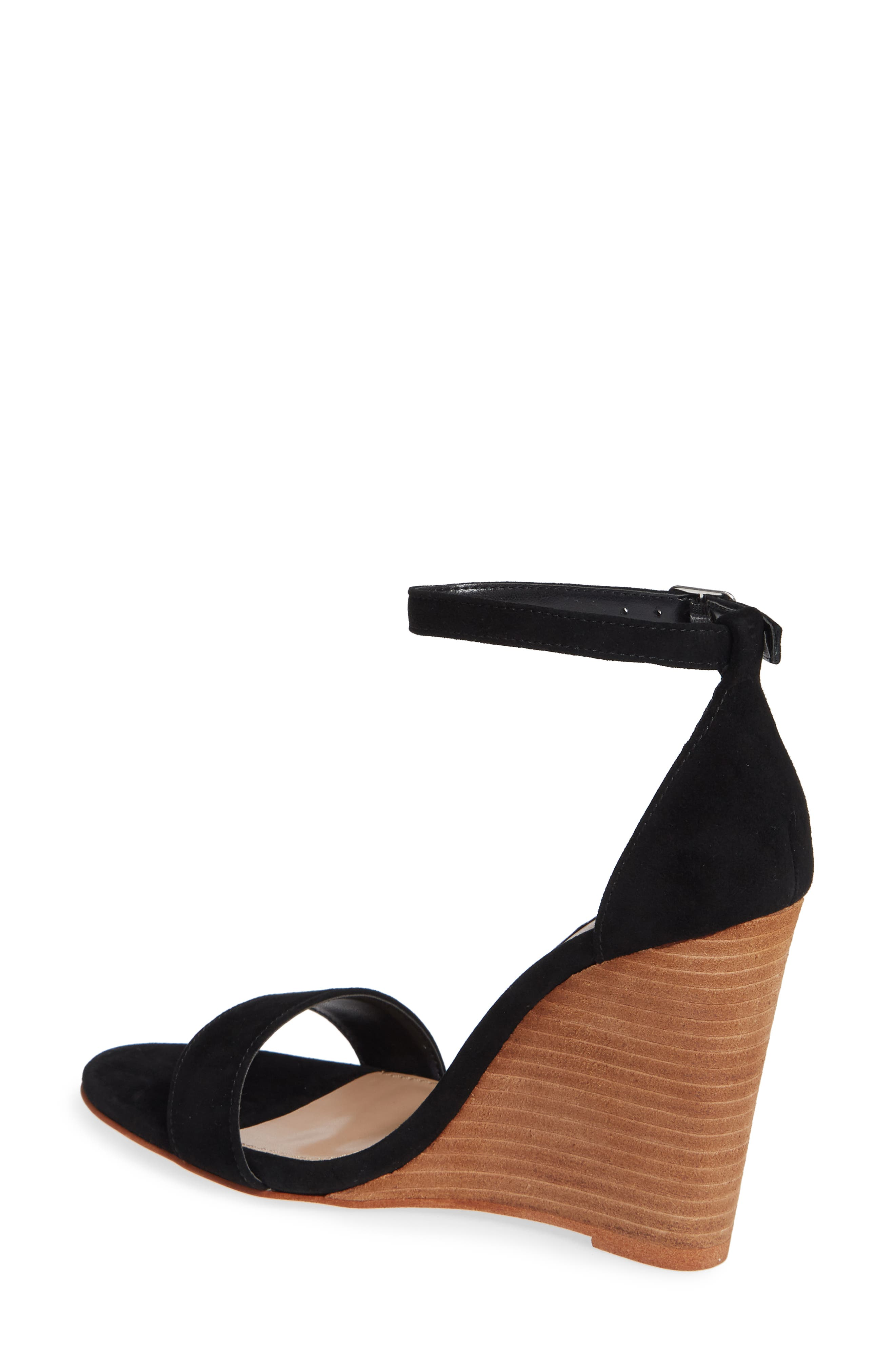 Mary Ankle Strap Wedge,                             Alternate thumbnail 2, color,                             BLACK SUEDE