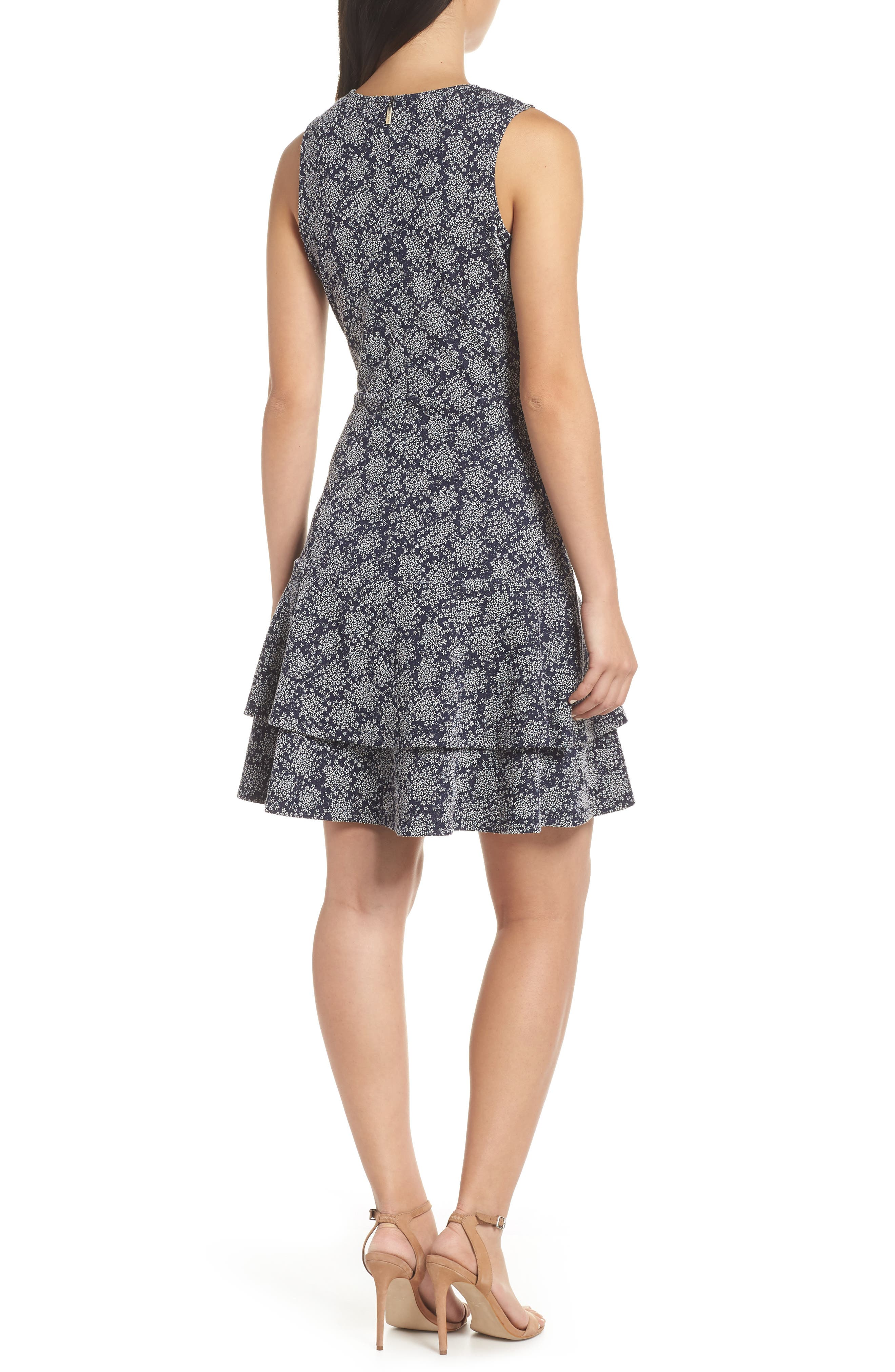 Tiered Fit & Flare Dress,                             Alternate thumbnail 2, color,                             TRUE NAVY/ WHITE