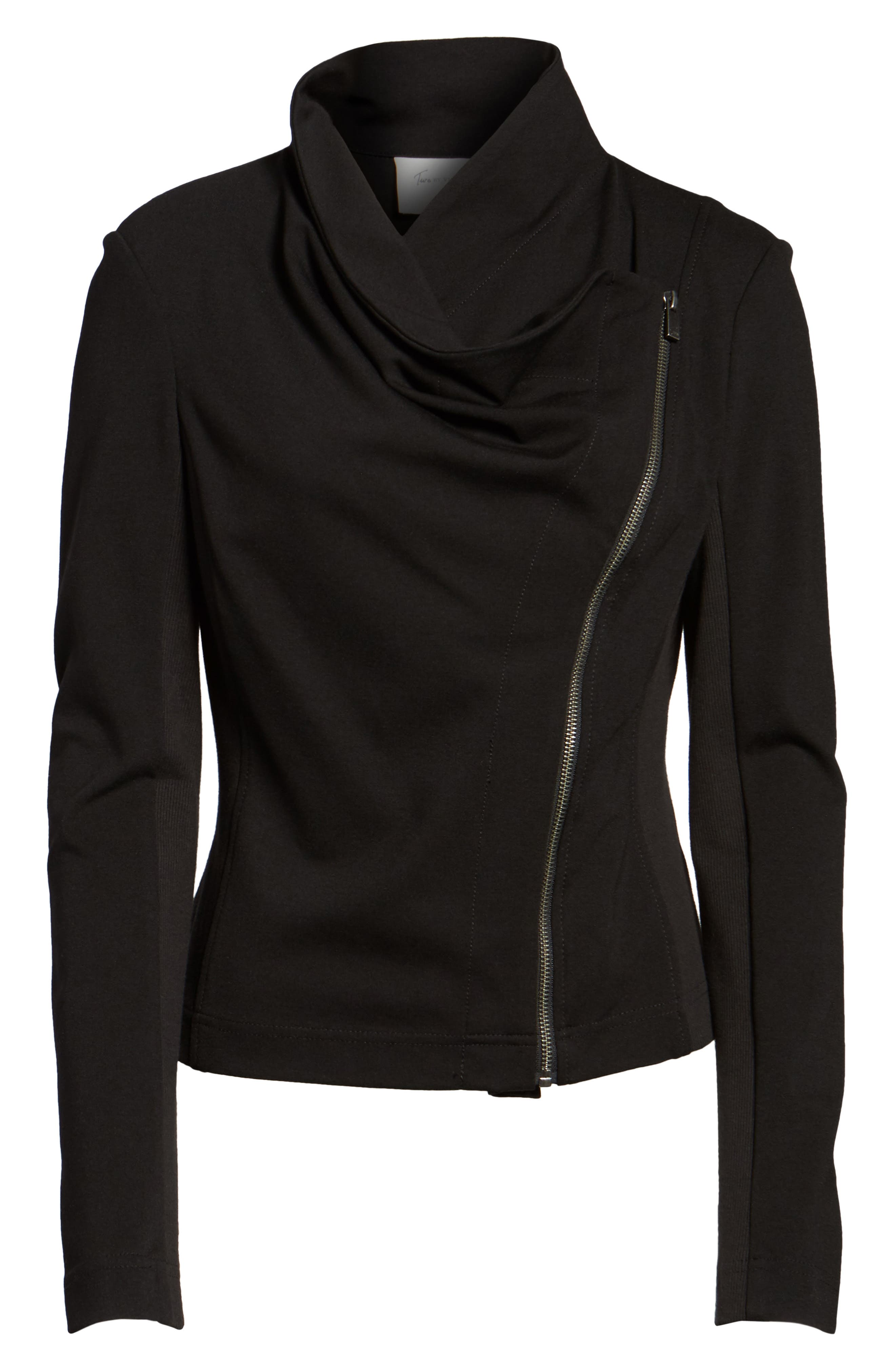 Two by Vince Camuto Ponte Moto Jacket,                             Alternate thumbnail 5, color,                             006