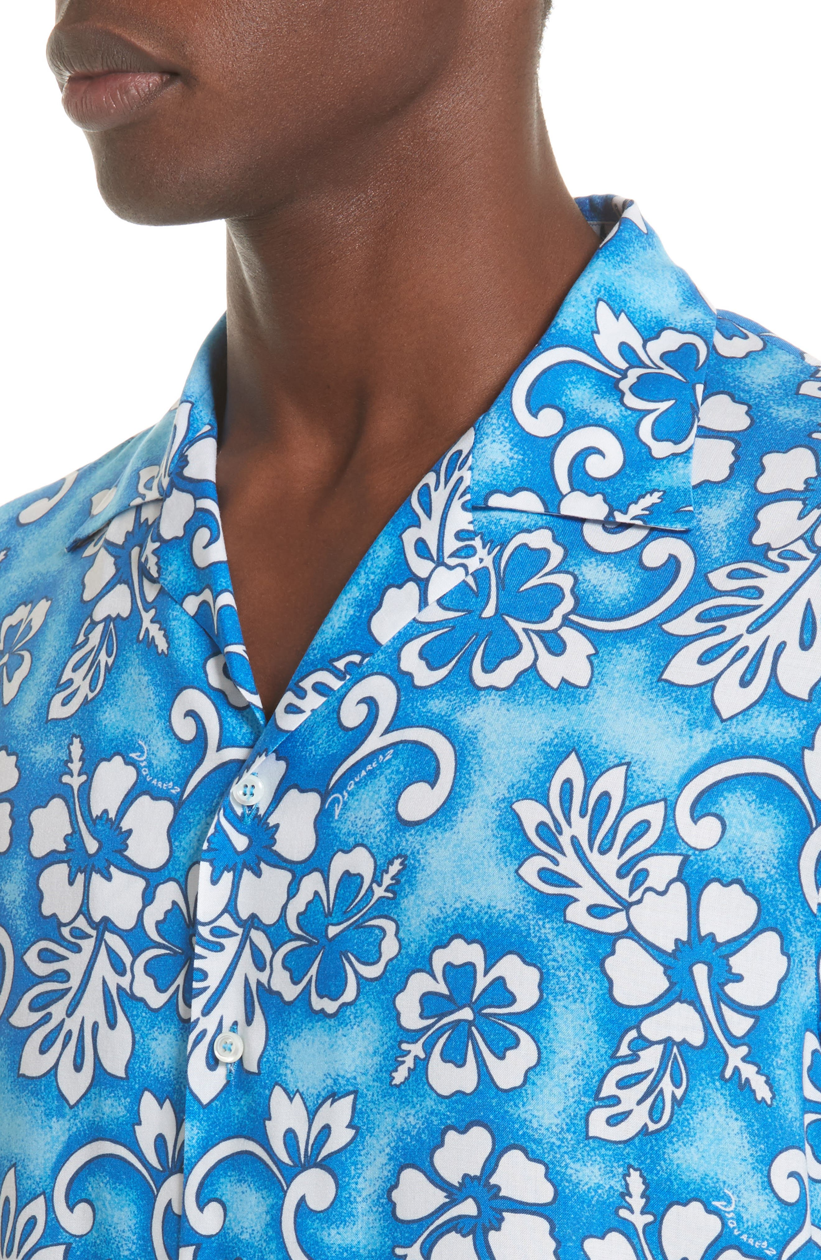 Floral Print Camp Shirt,                             Alternate thumbnail 4, color,                             400