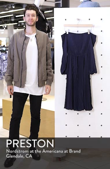 Elise Off the Shoulder Pleated Georgette Dress, sales video thumbnail