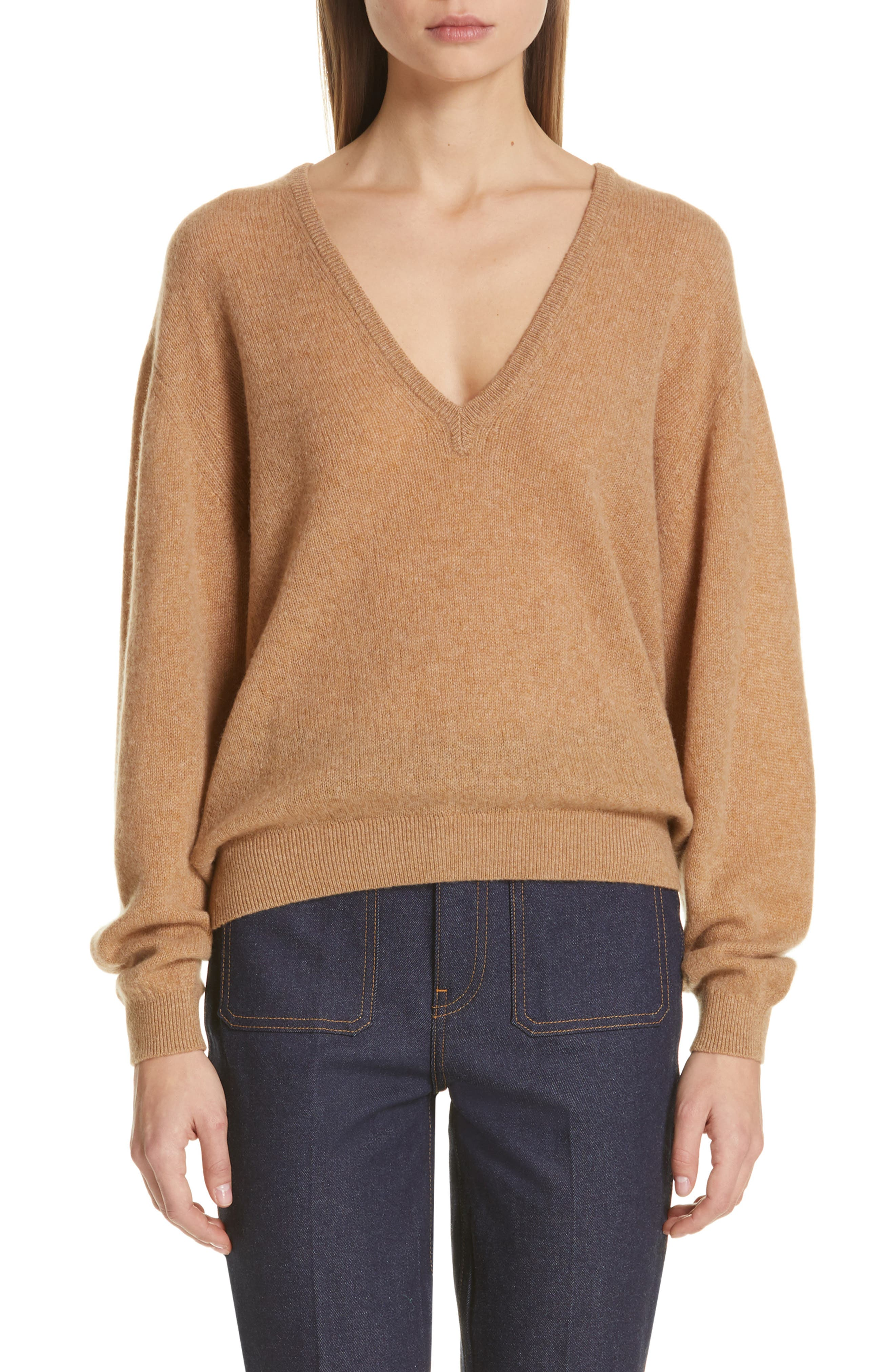 KHAITE Sam Cashmere Sweater, Main, color, CAMEL