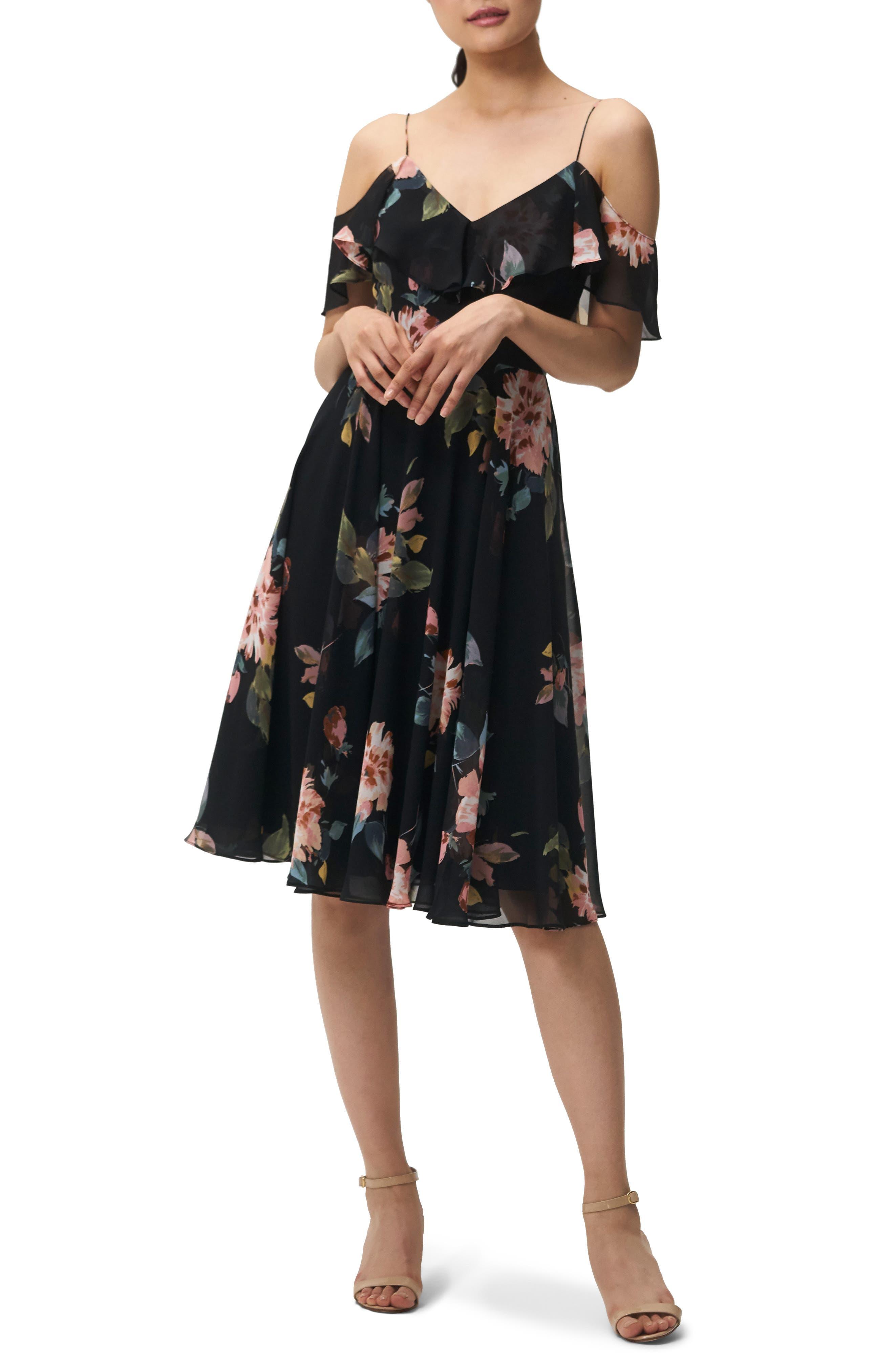 Kelli Ohana Print Chiffon Cold Shoulder Dress,                             Main thumbnail 1, color,                             BLACK MULTI