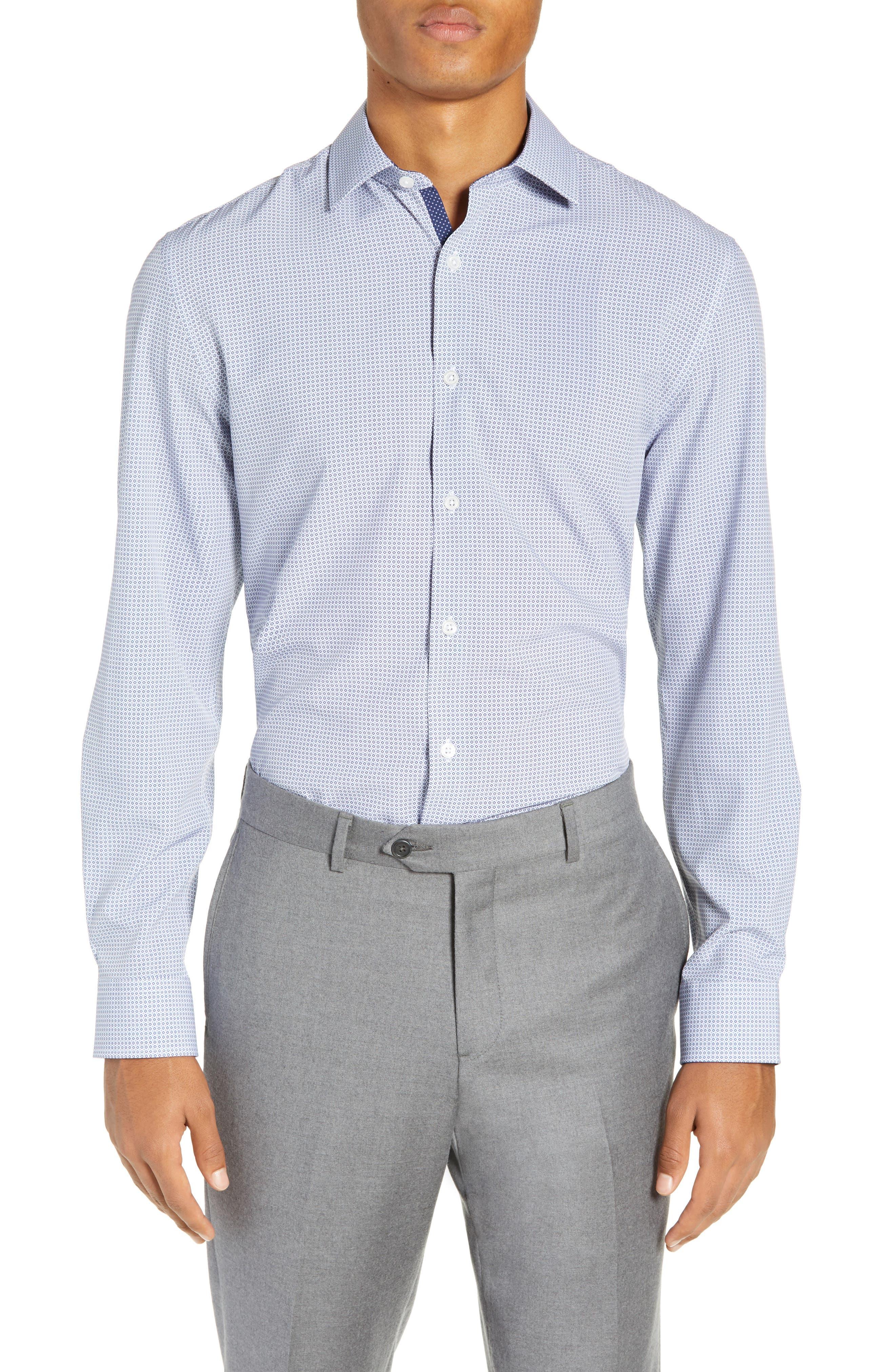 Trim Fit 4-Way Stretch Geometric Dress Shirt, Main, color, 400