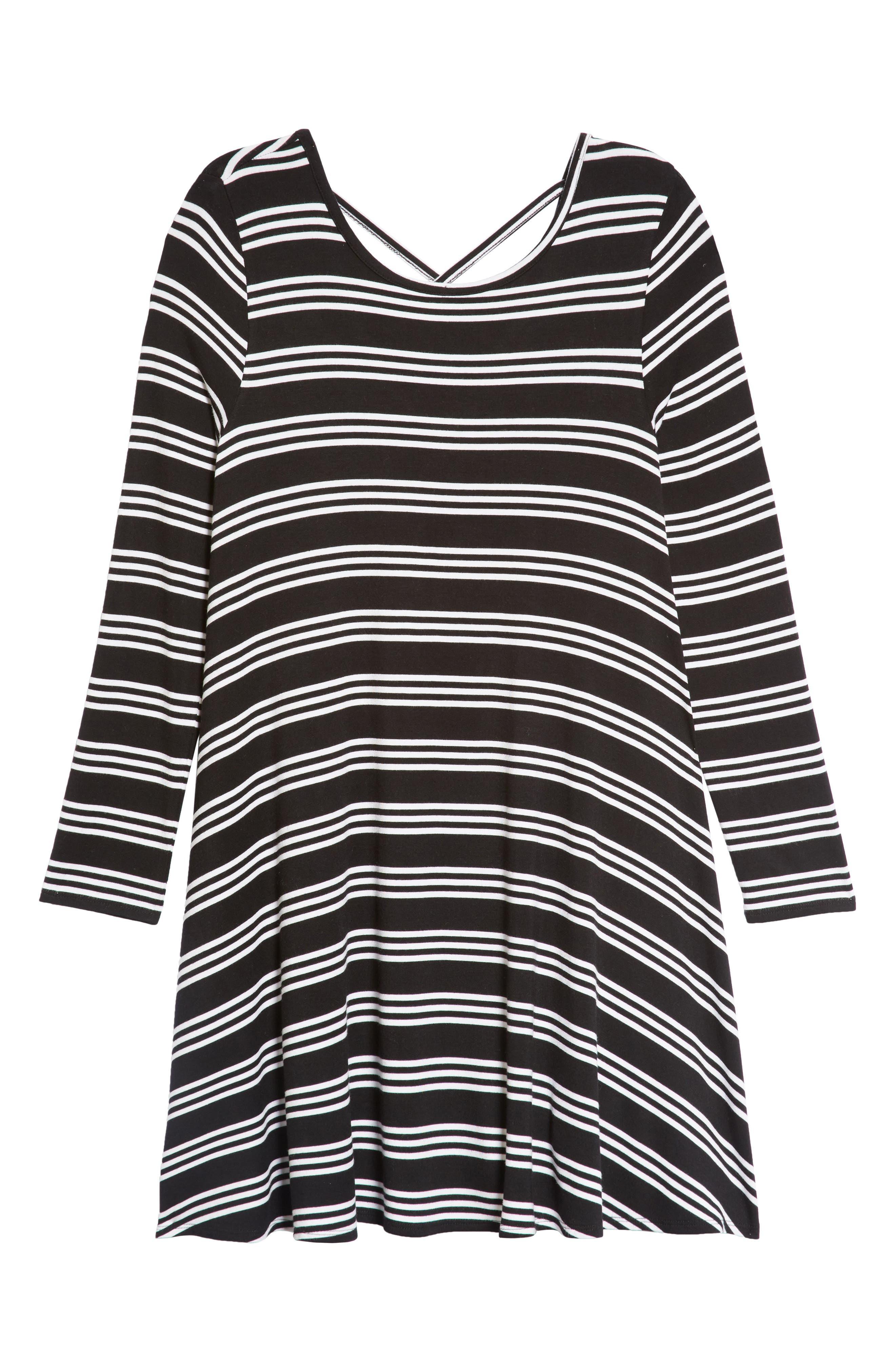 Stripe Trapeze Dress,                             Main thumbnail 1, color,                             BLACK- WHITE STRIPE