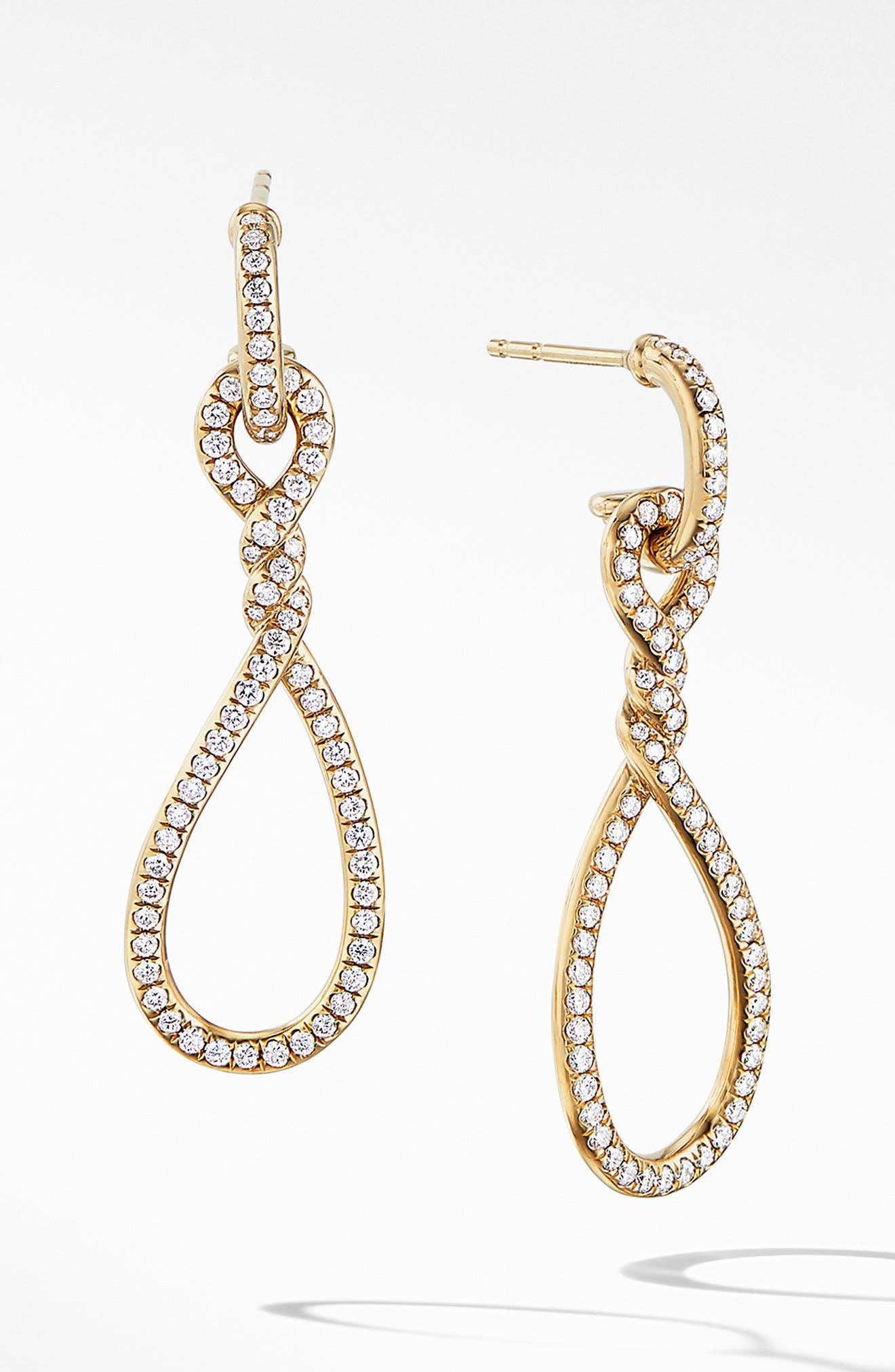 DAVID YURMAN,                             Continuance Full Pavé Small Drop Earrings in 18K Yellow Gold,                             Main thumbnail 1, color,                             YELLOW GOLD/ DIAMOND