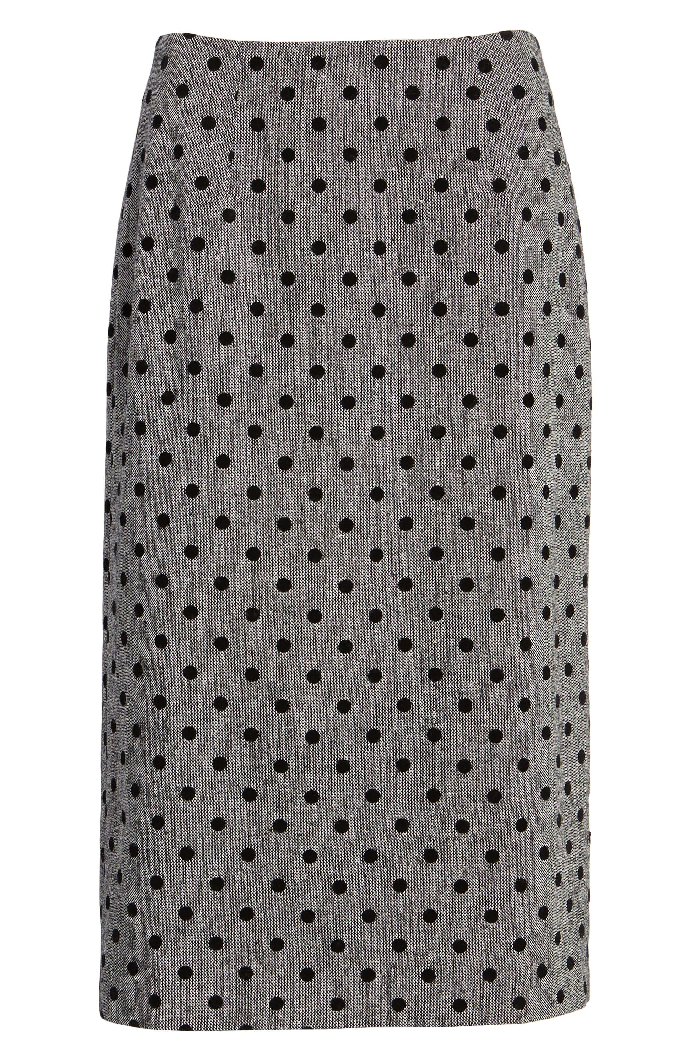 Dot Pencil Skirt,                             Alternate thumbnail 6, color,                             GREY- BLACK DOT