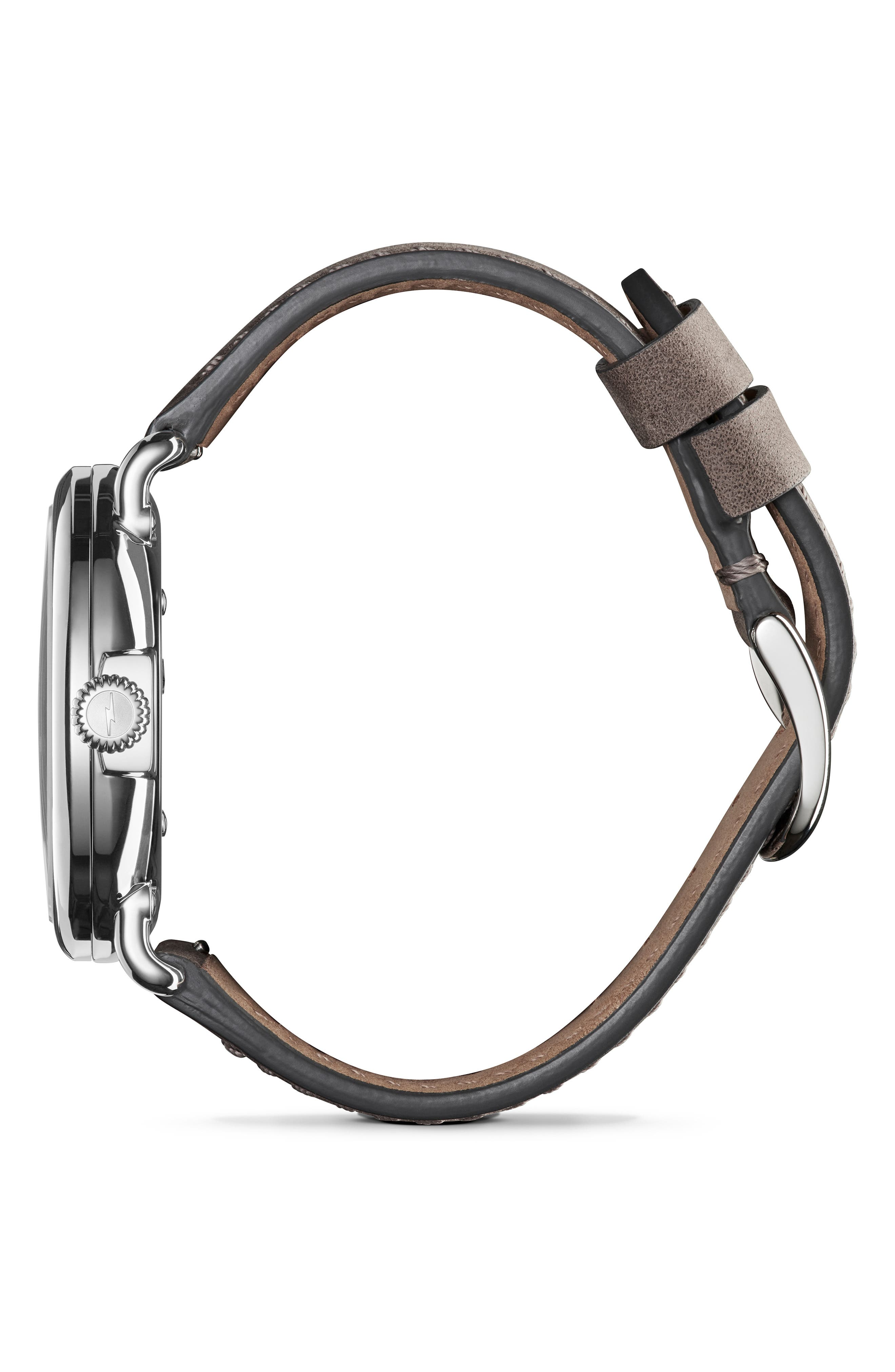 'The Runwell' Leather Strap Watch, 41mm,                             Alternate thumbnail 3, color,                             HEATHER GREY/ MOP/ SILVER