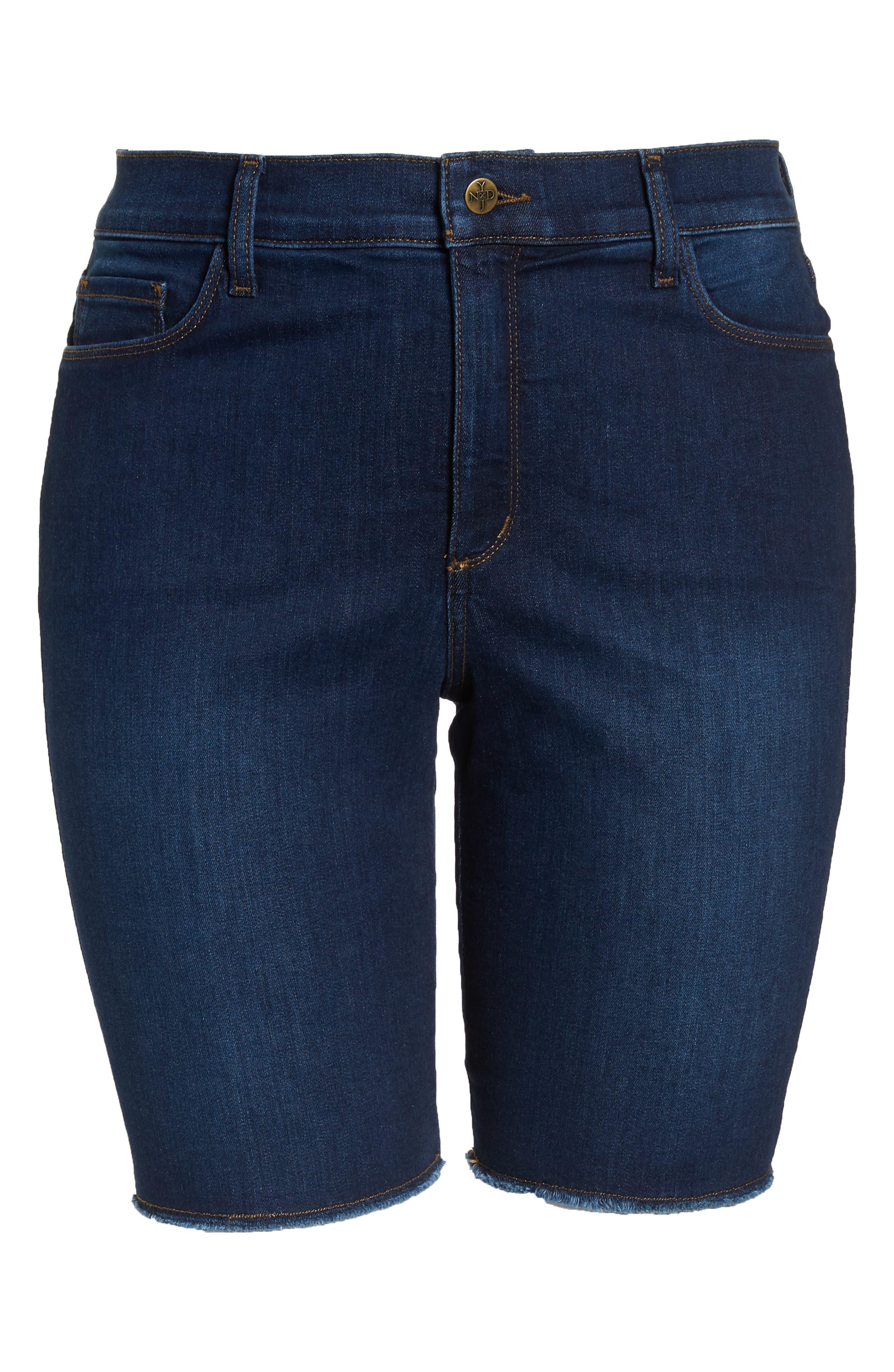 Briella Fray Hem Denim Bermuda Shorts,                             Alternate thumbnail 10, color,