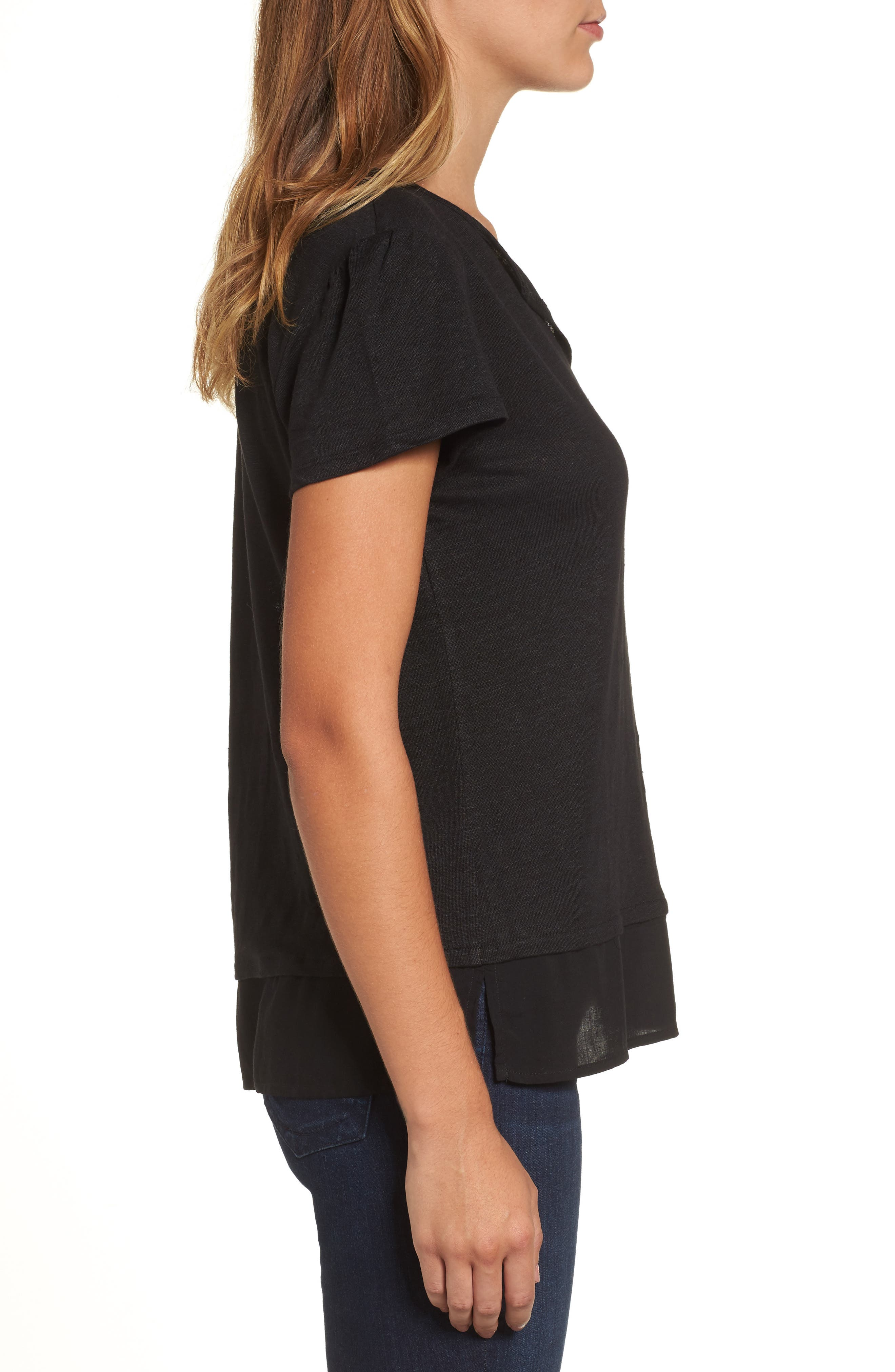 Uptown Tiered Hem Linen Tee,                             Alternate thumbnail 3, color,                             BLACK