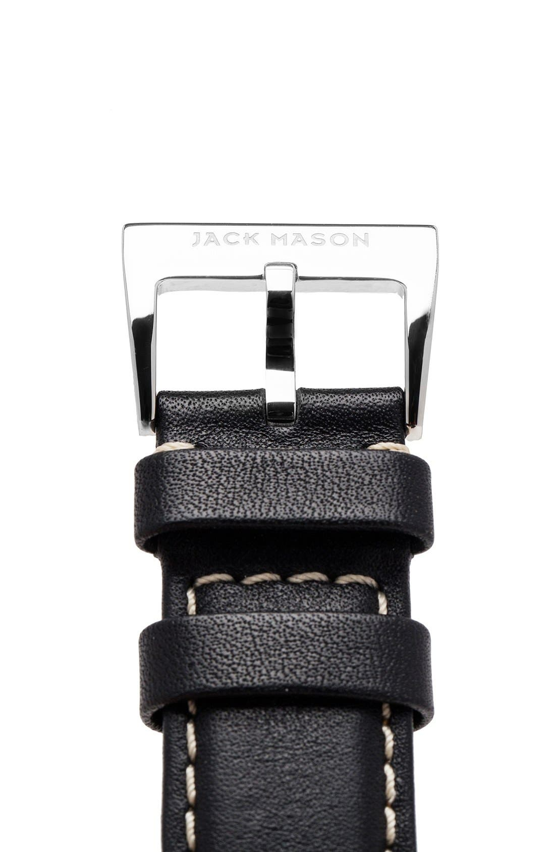 Leather Strap, 22mm,                             Alternate thumbnail 3, color,                             BLACK
