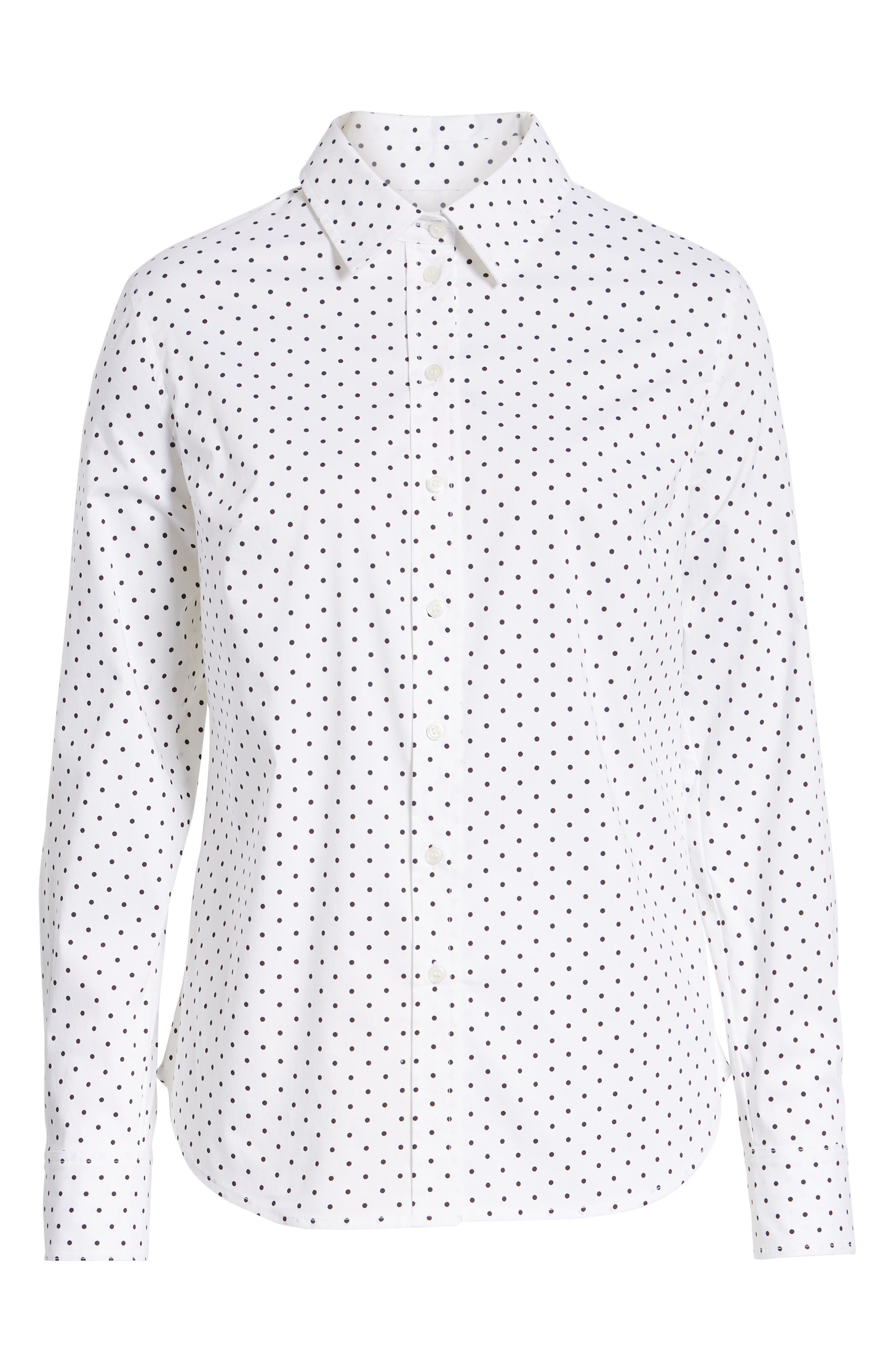 Polka Dot Stretch Cotton Blend Shirt,                             Alternate thumbnail 6, color,                             WHITE BISOU DOT