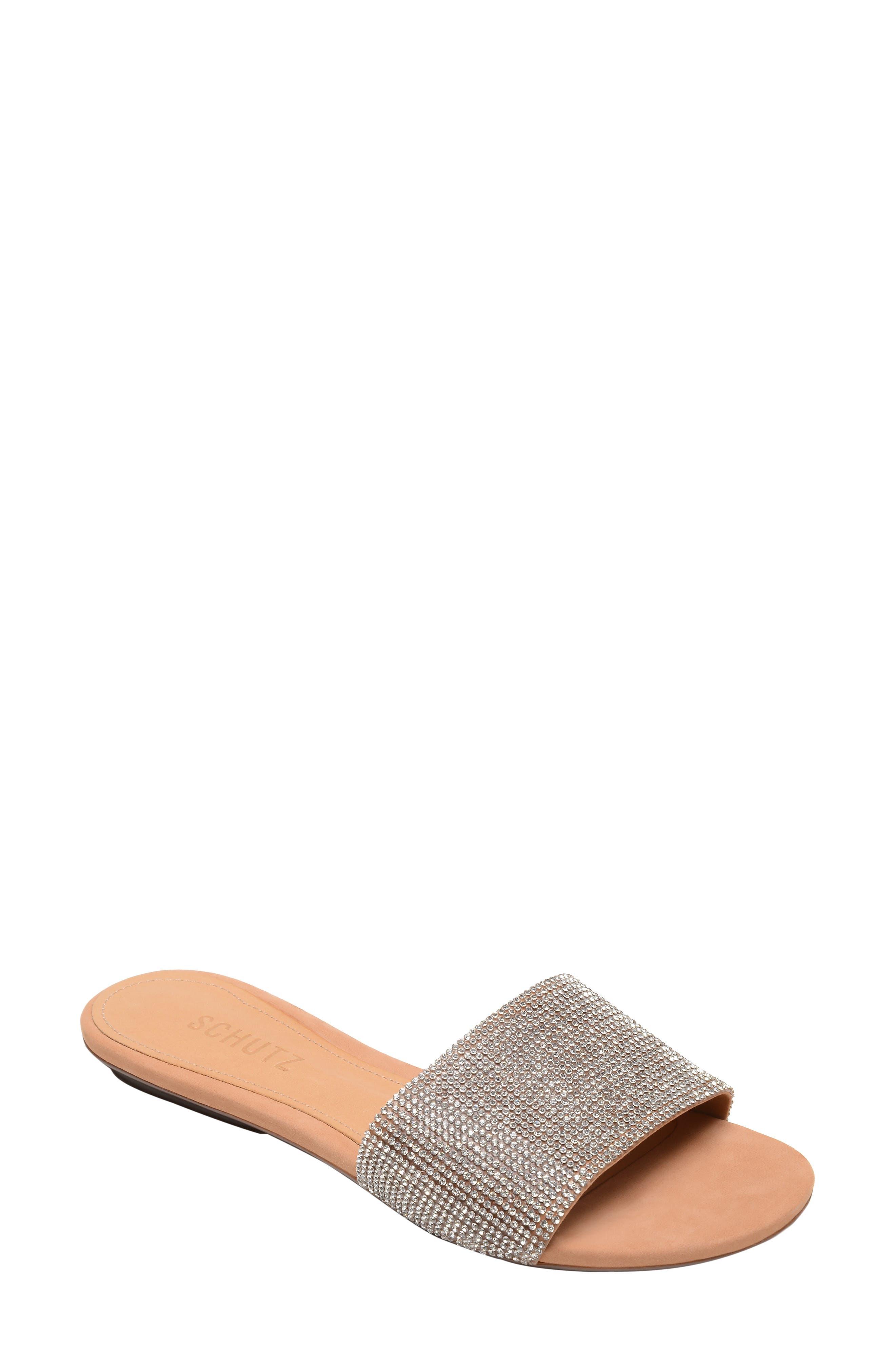 Queren Embellished Slide Sandal,                             Main thumbnail 1, color,                             CRISTAL