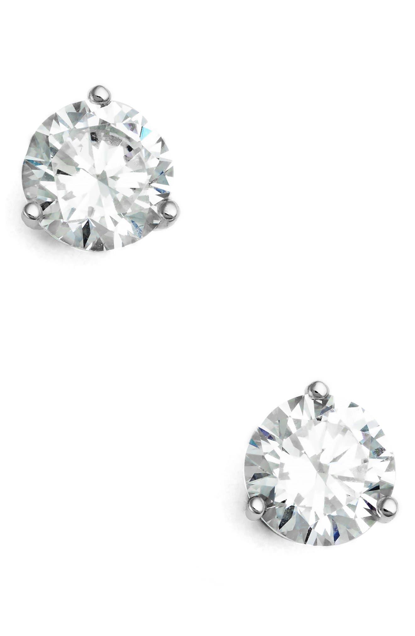 2ct tw Cubic Zirconia Earrings,                             Main thumbnail 1, color,                             PLATINUM