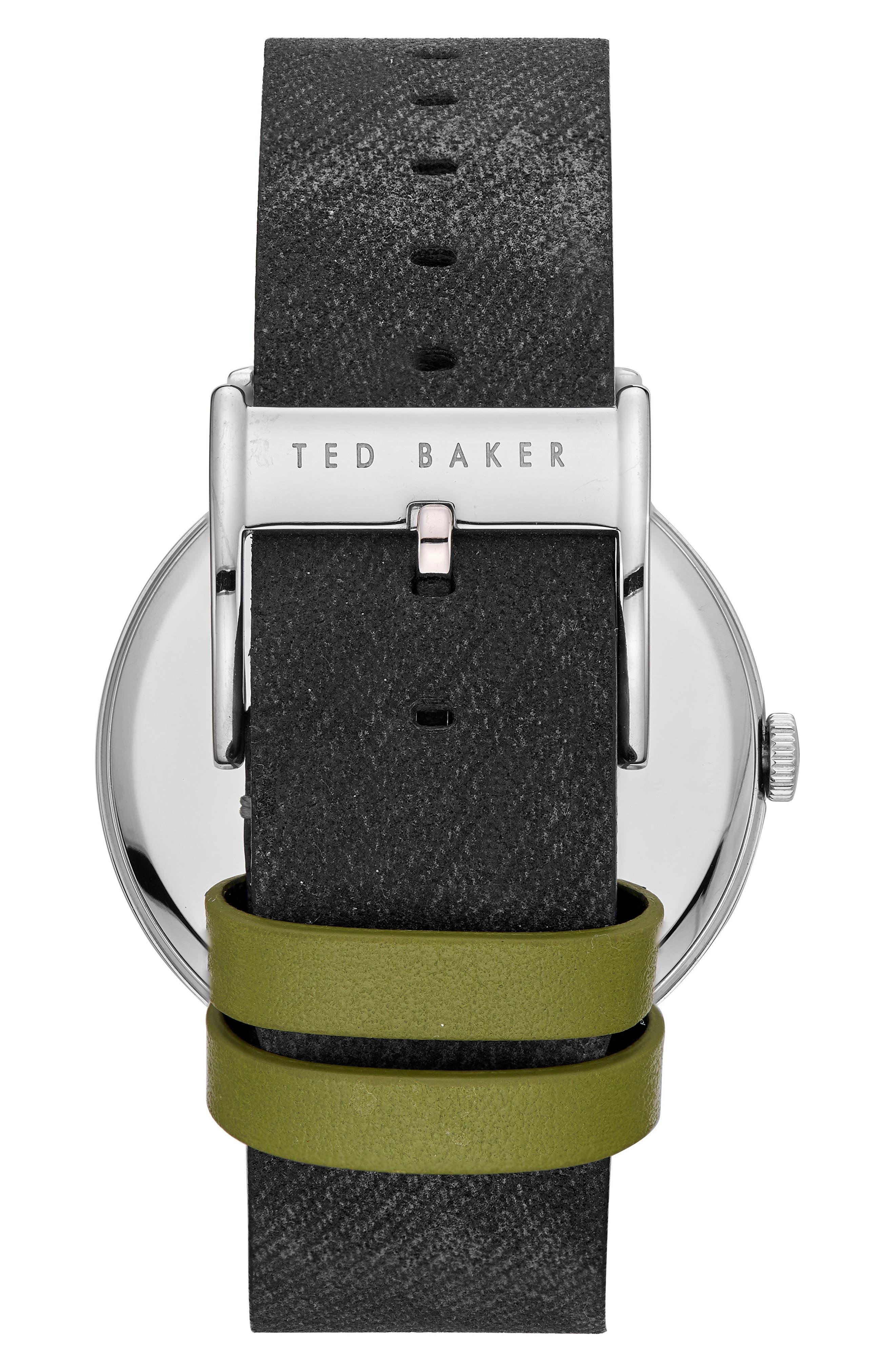Daniel Synthetic Strap Watch, 42mm,                             Alternate thumbnail 2, color,                             WHITE/ BLACK