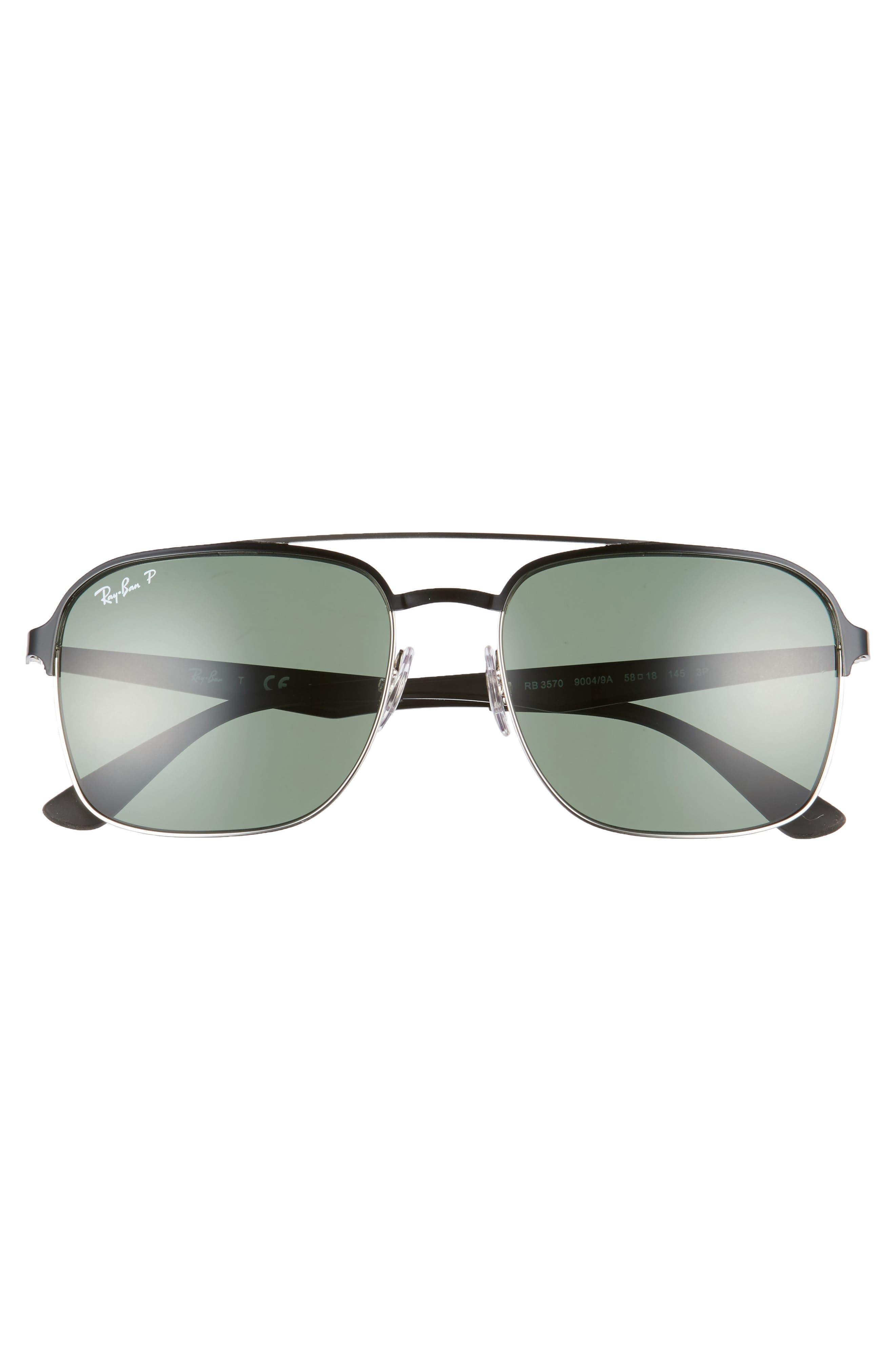58mm Polarized Sunglasses,                             Alternate thumbnail 2, color,                             BLACK SILVER