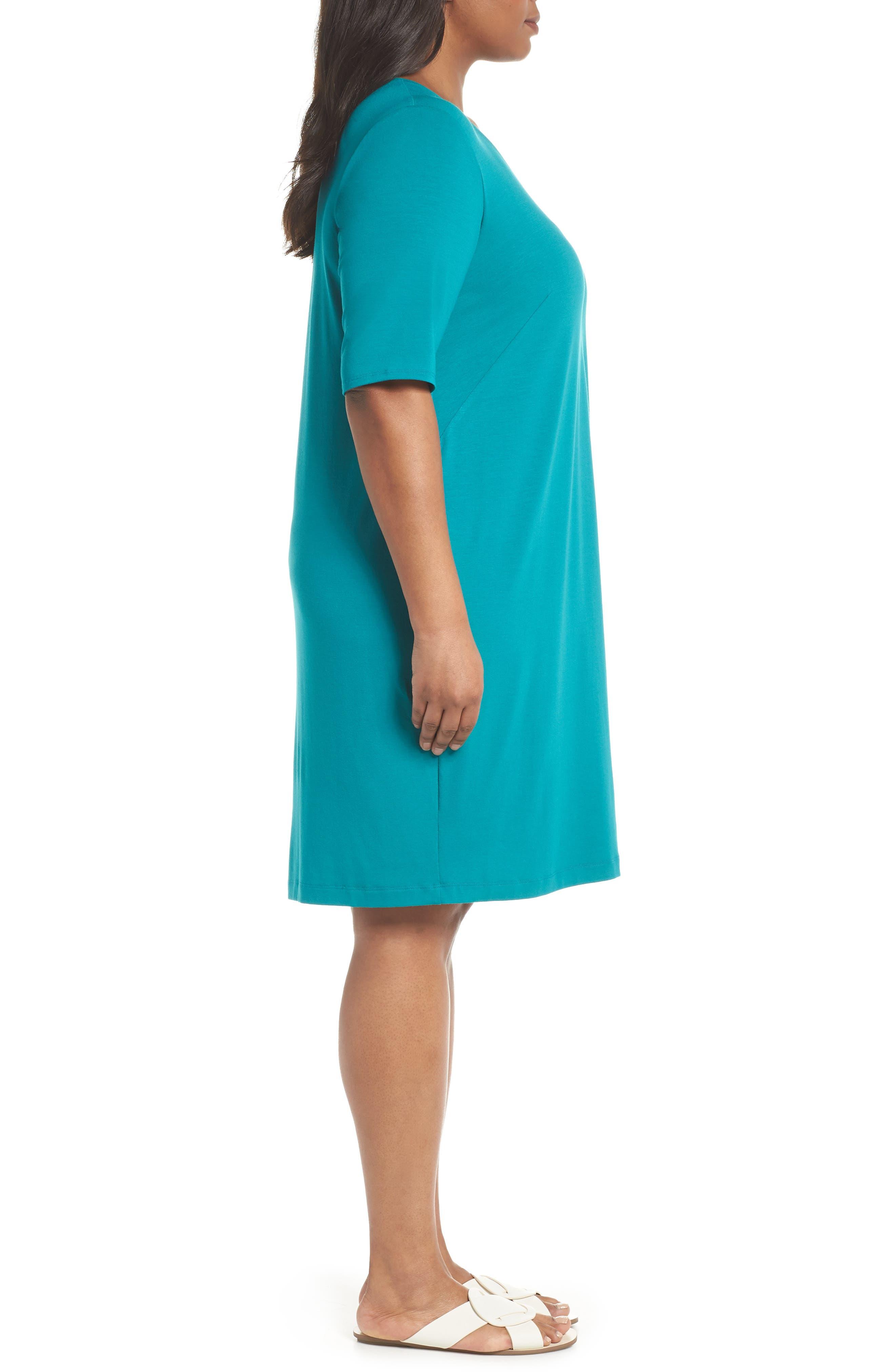 V-Neck Stretch Jersey Shift Dress,                             Alternate thumbnail 15, color,