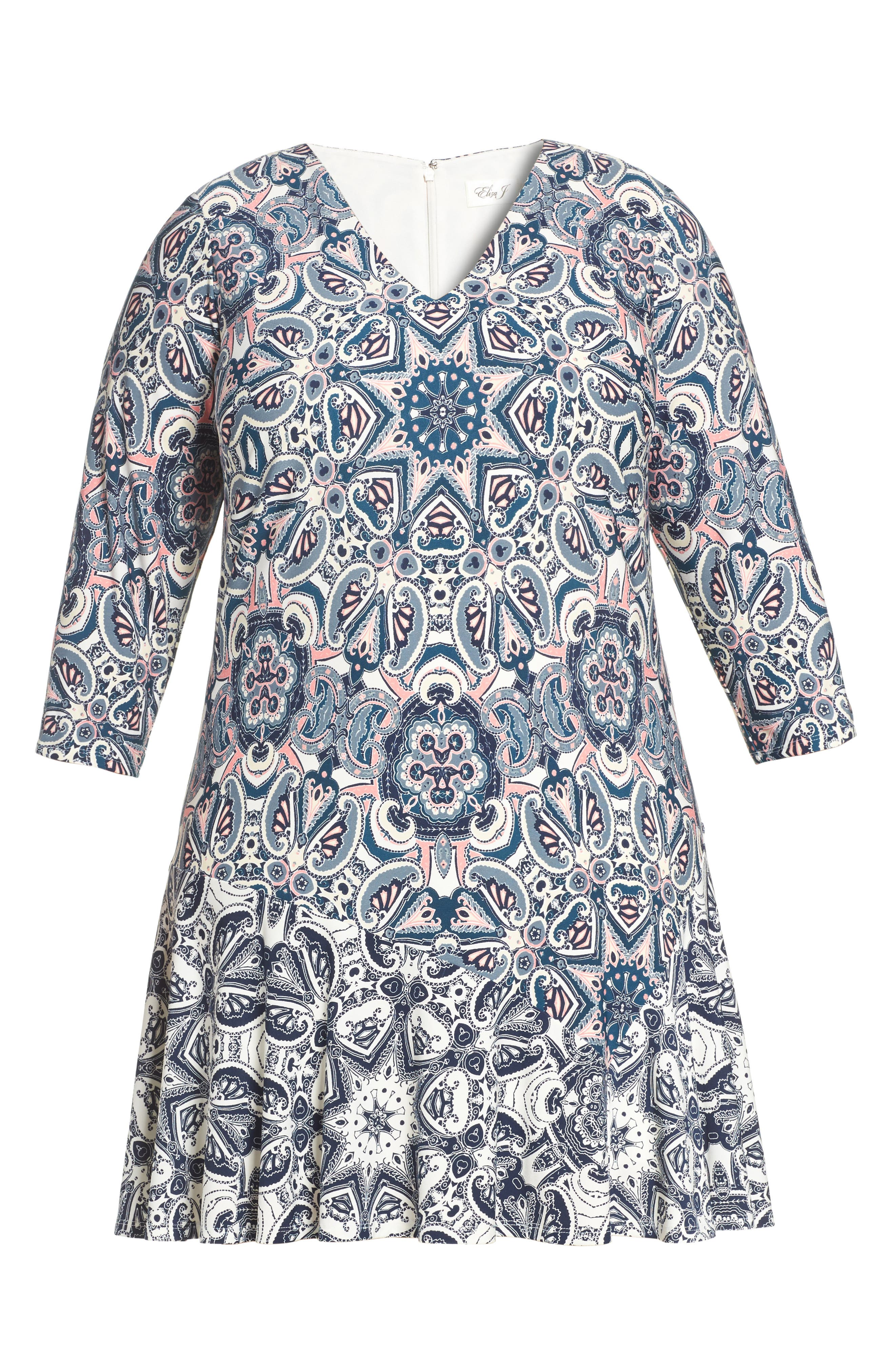 Mixed Paisley A-Line Dress,                             Alternate thumbnail 8, color,                             404