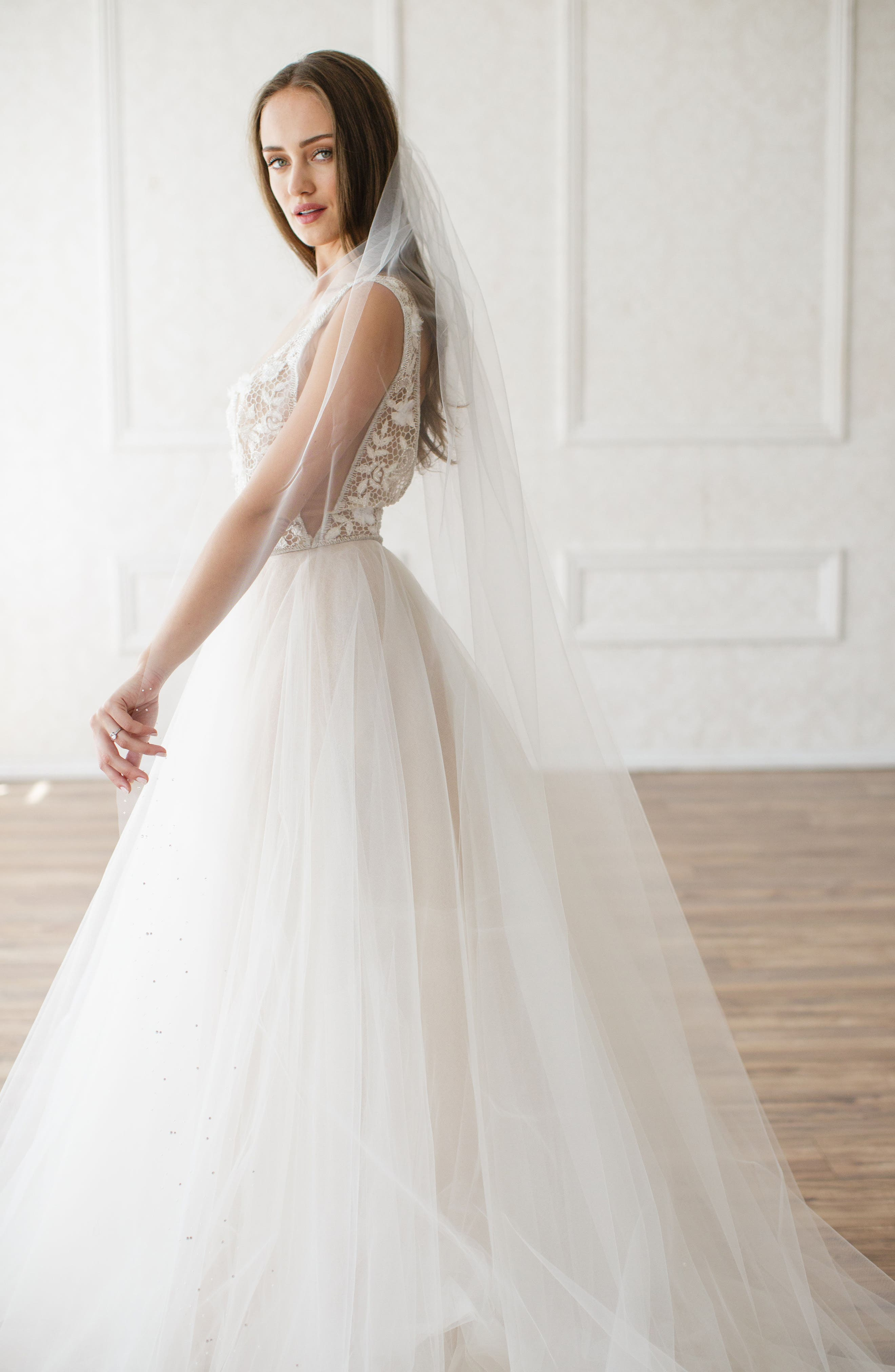 'Christina' Tulle Veil,                         Main,                         color, WHITE