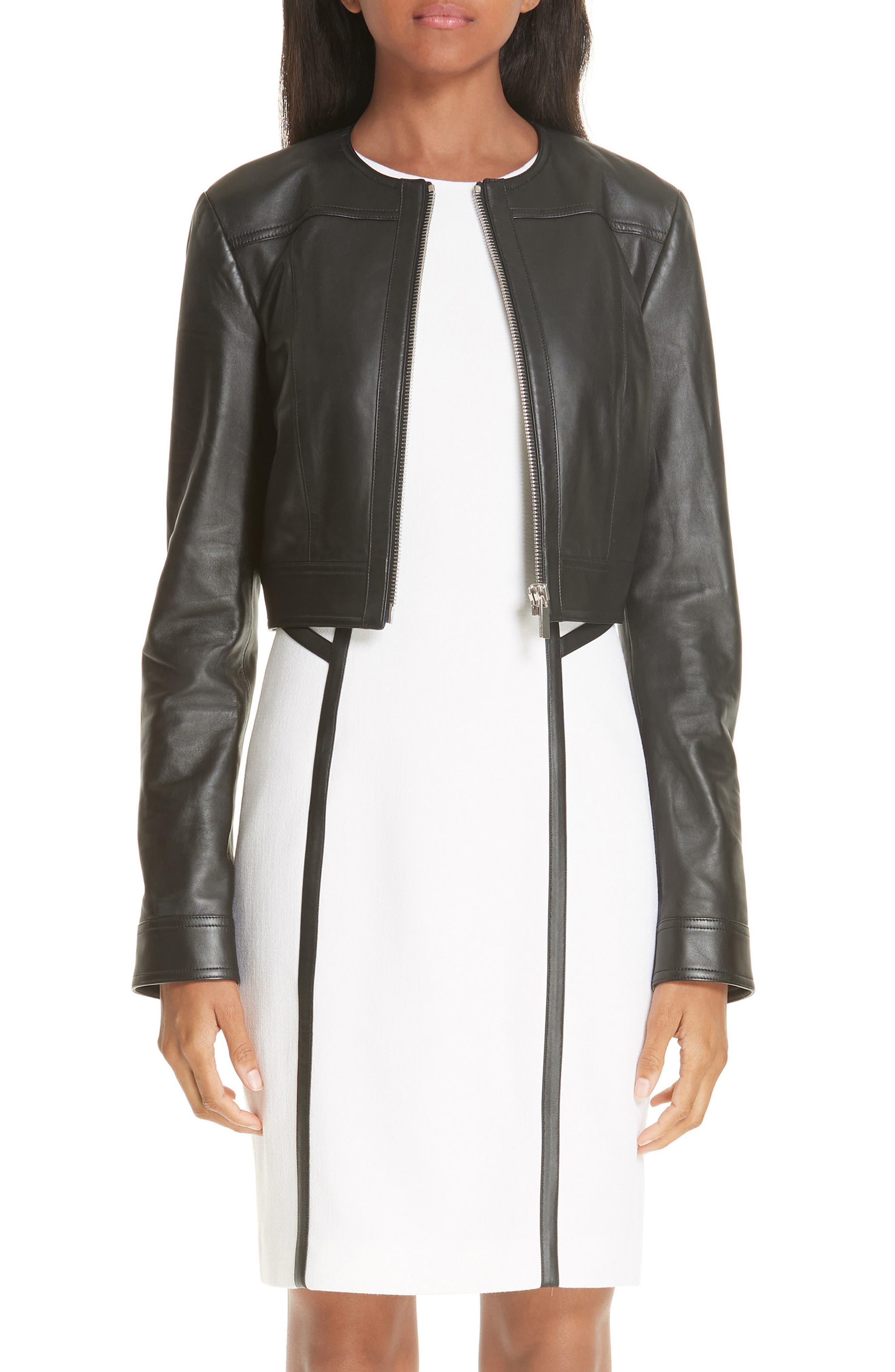 Crop Plongé Leather Jacket,                             Main thumbnail 1, color,                             BLACK