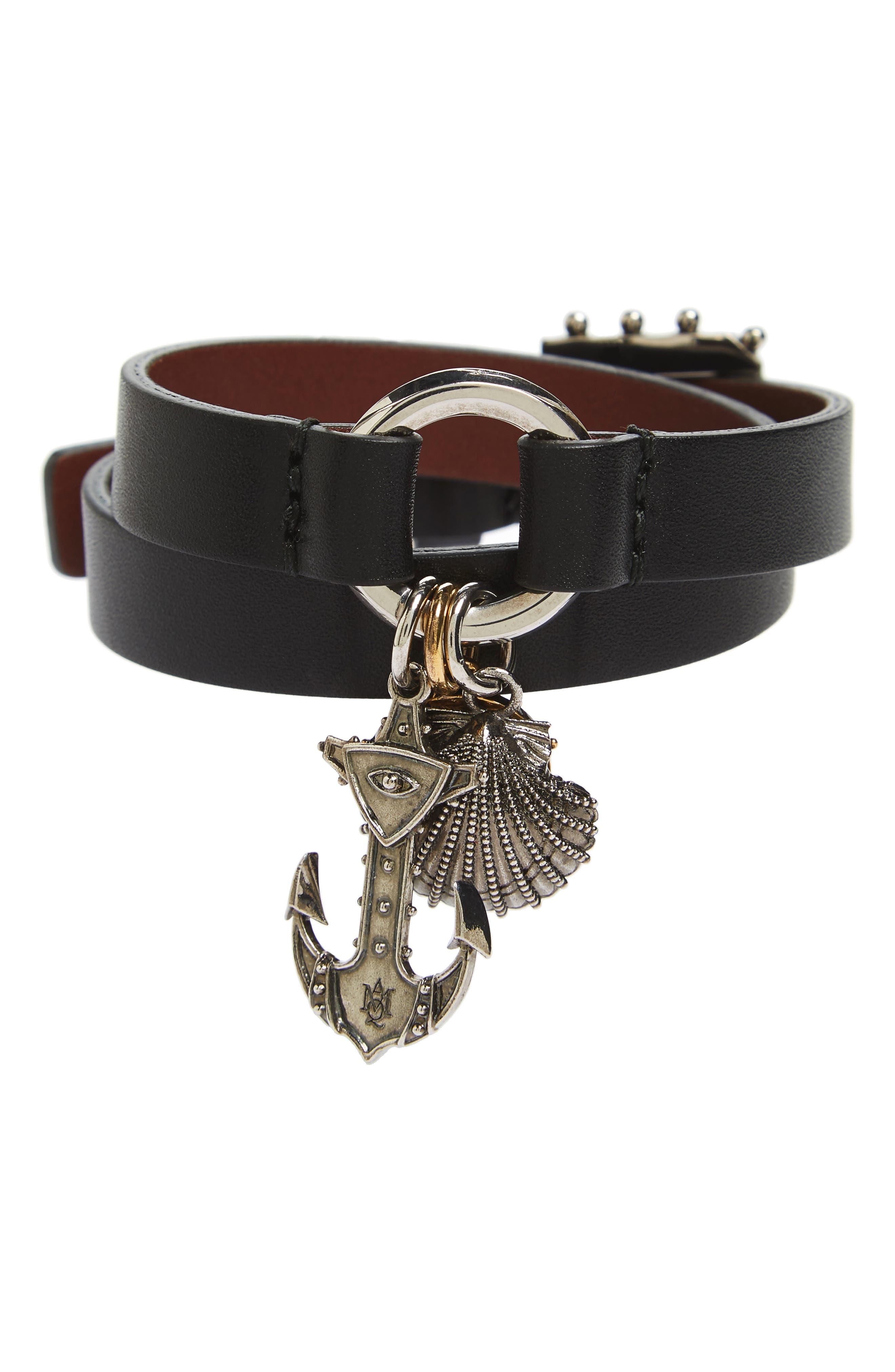 Marine Leather Wrap Bracelet,                             Main thumbnail 1, color,                             001
