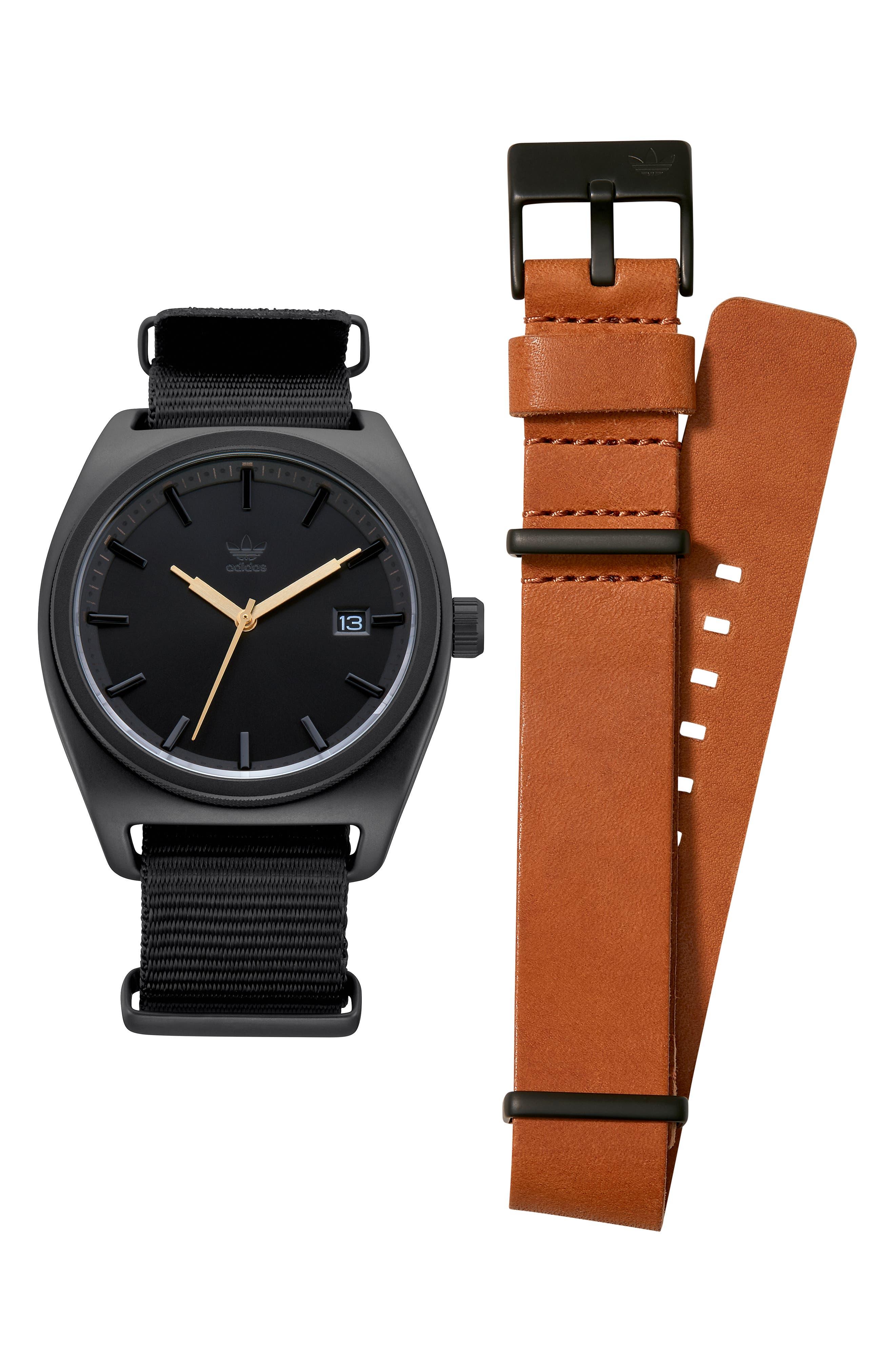 Process Interchangeable Strap Watch, 40mm,                             Alternate thumbnail 4, color,                             BLACK/ TAN