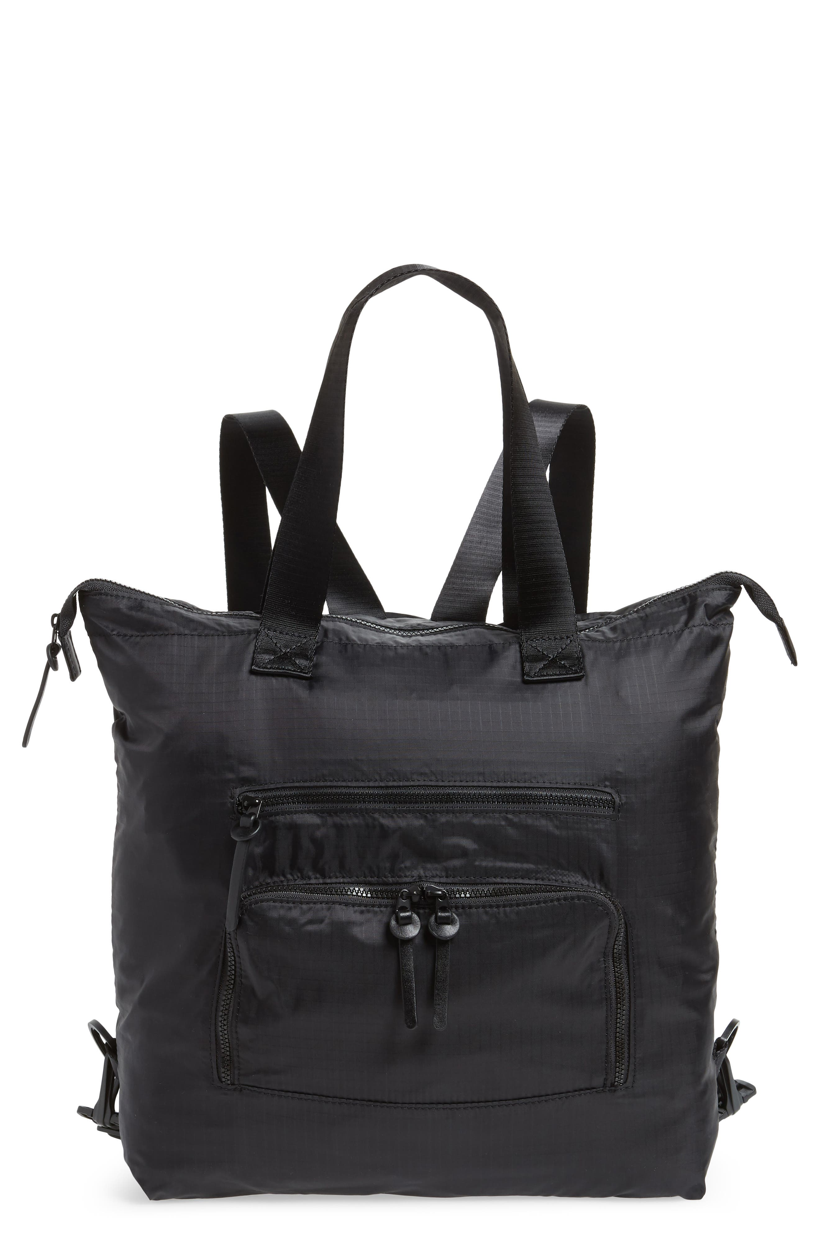 Packable Convertible Backpack,                         Main,                         color, BLACK