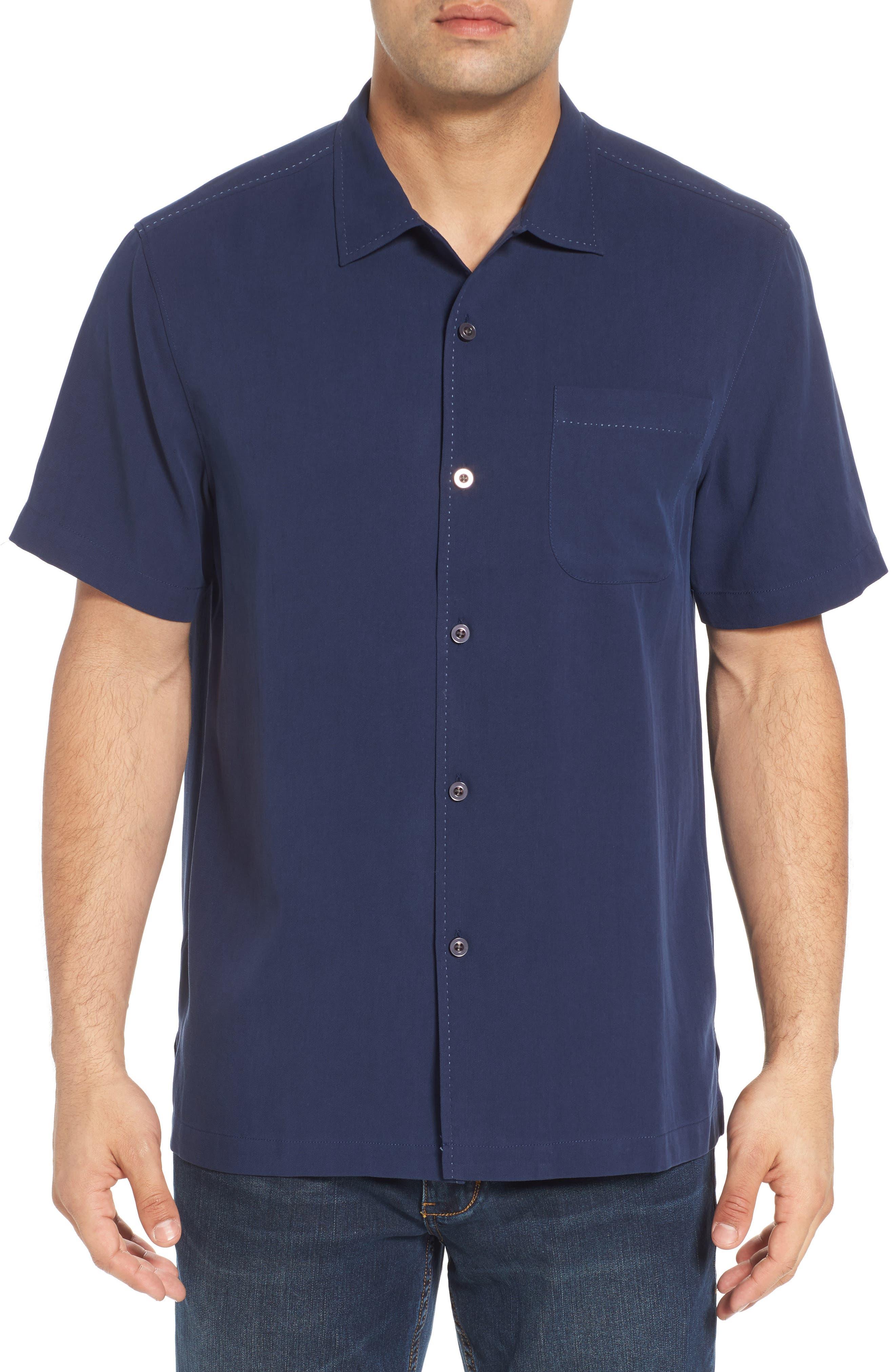 Catalina Silk Camp Shirt,                         Main,                         color, NAVY