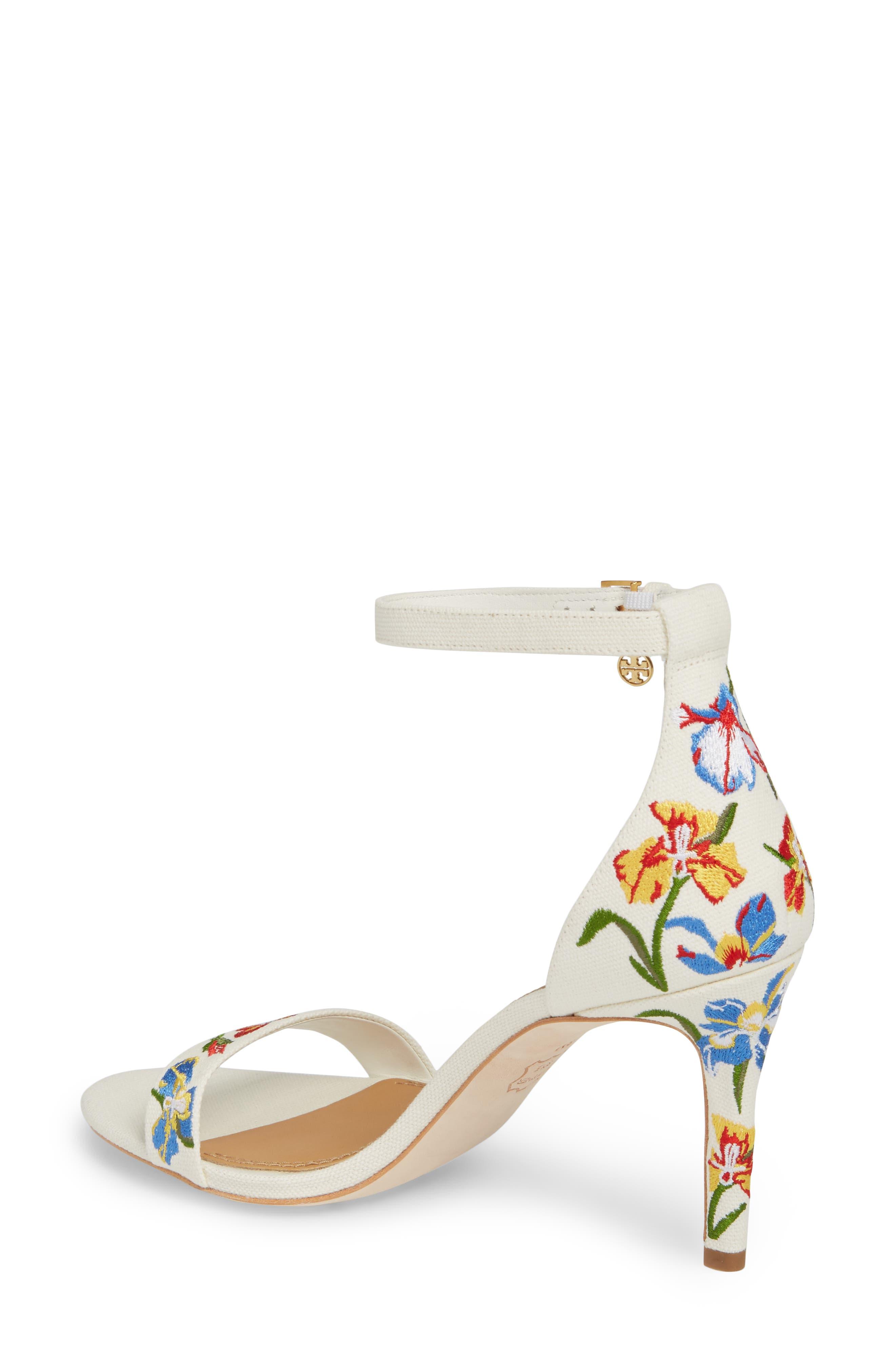 Ellie Embroidered Ankle Strap Sandal,                             Alternate thumbnail 2, color,