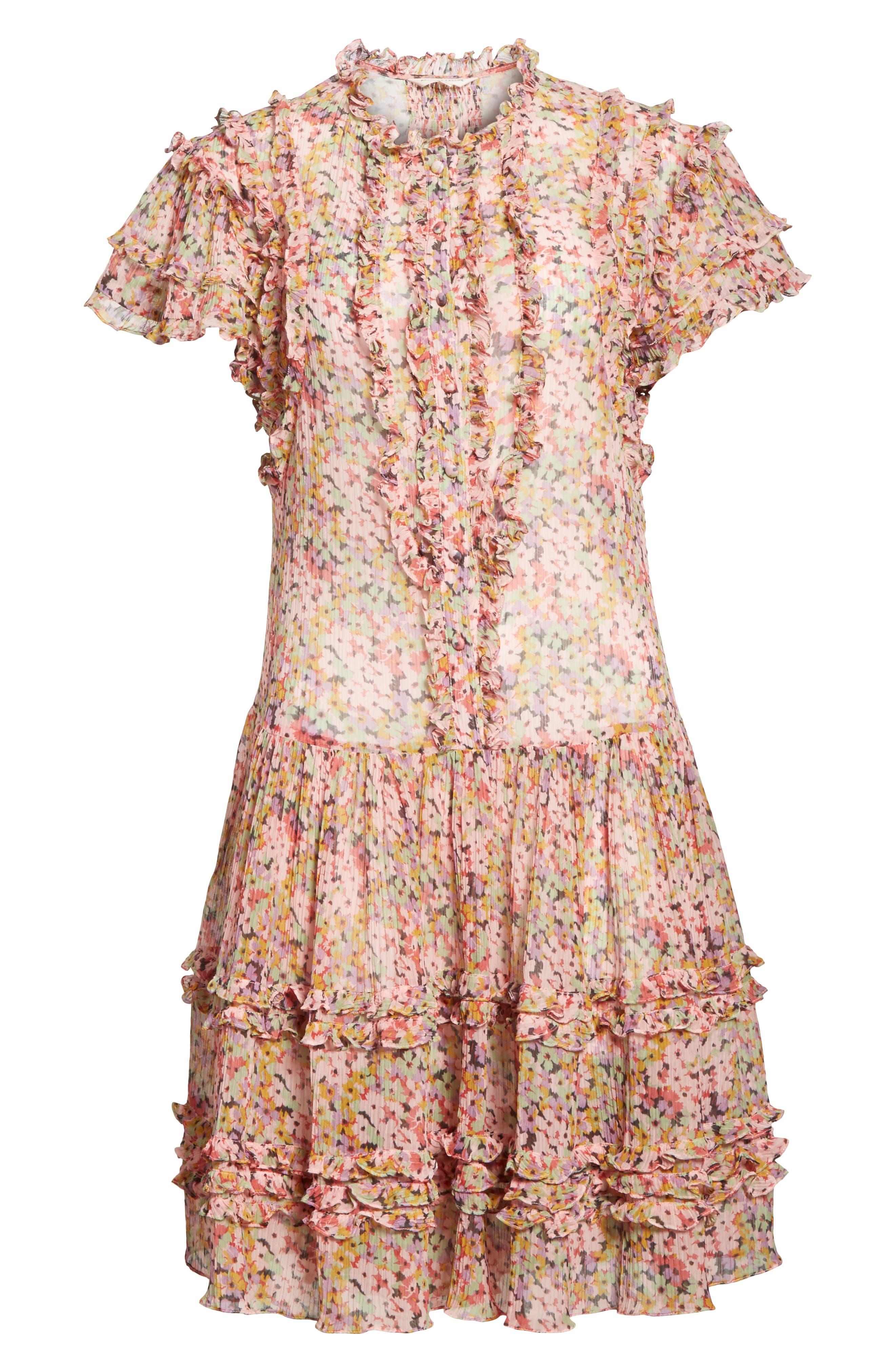 Margo Ruffled Floral Drop Waist Dress,                             Alternate thumbnail 6, color,                             686