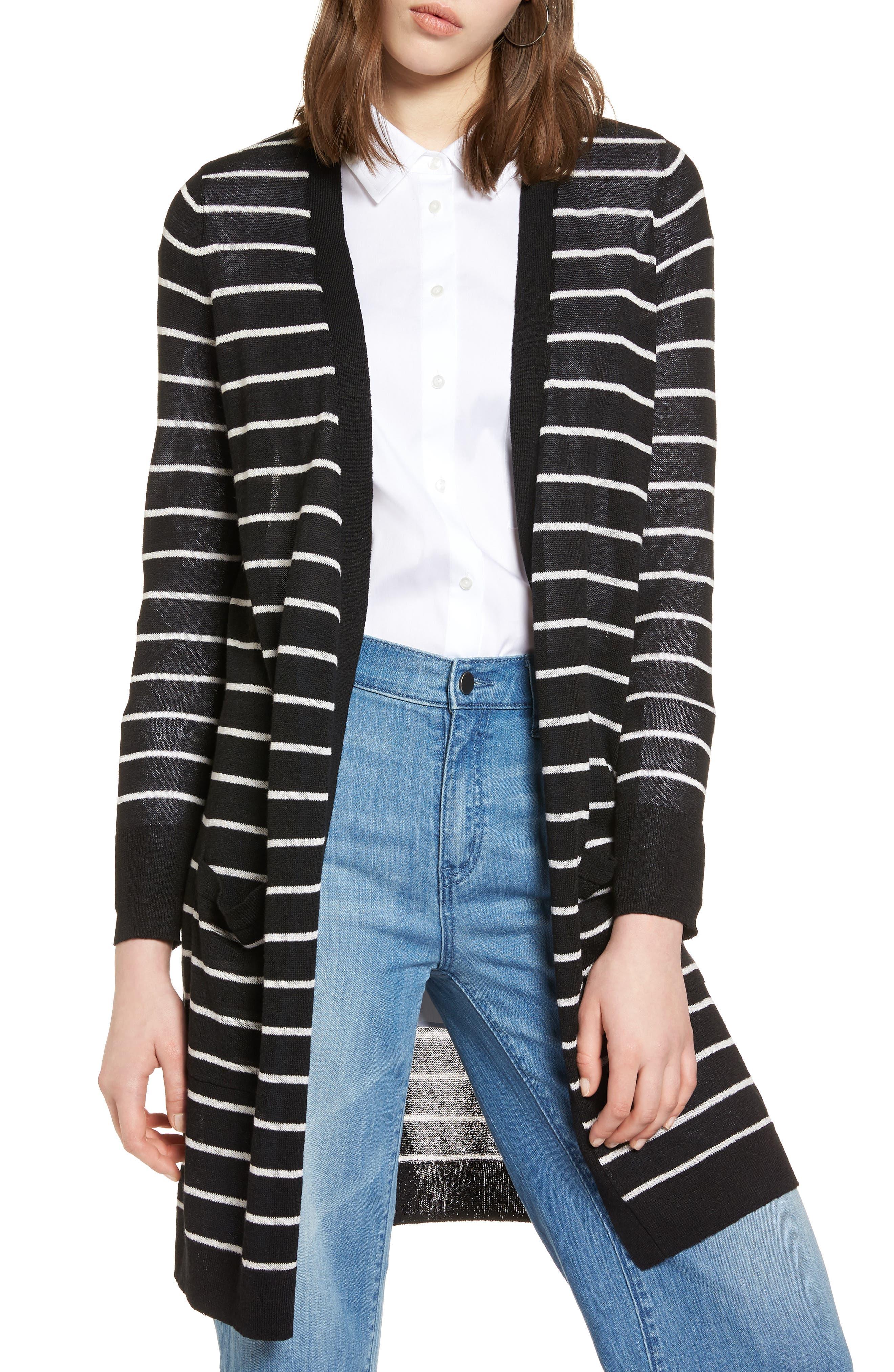 Petite Halogen Long Linen Blend Cardigan, Black