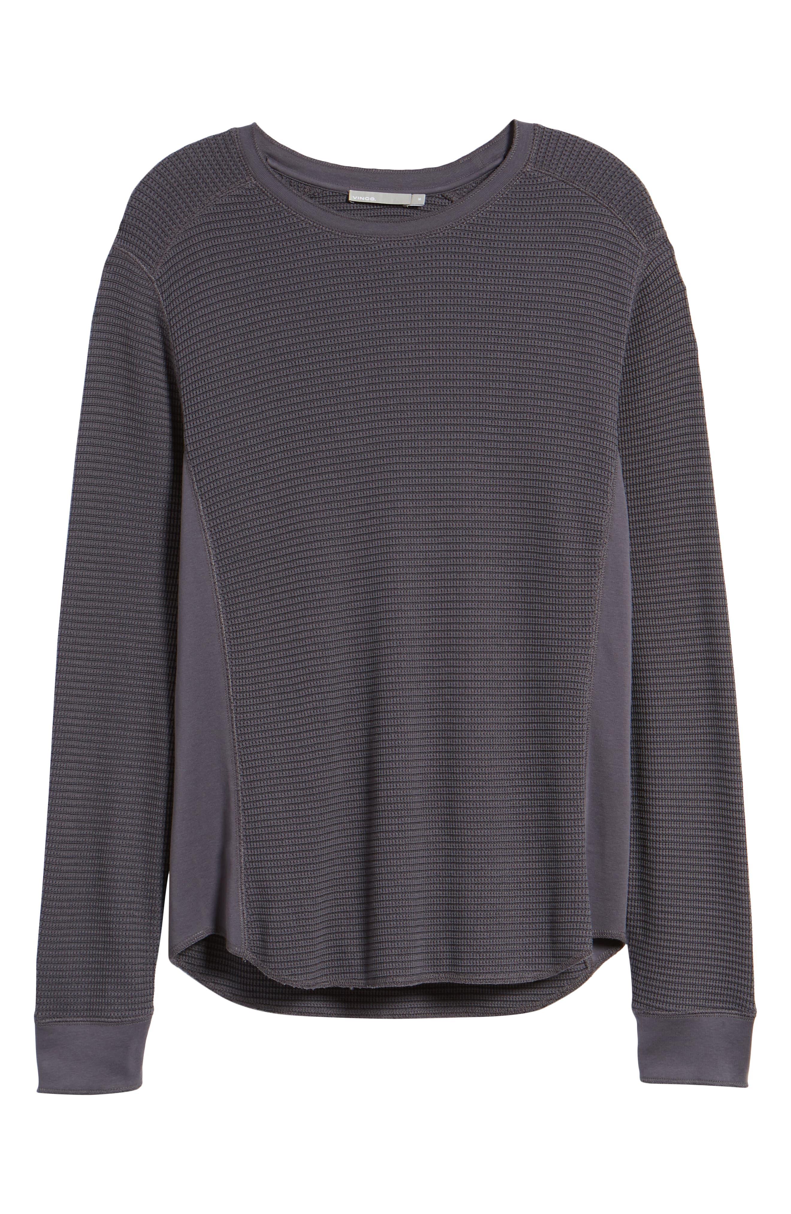 Regular Fit Waffle Knit Cotton Blend Crewneck T-Shirt,                             Alternate thumbnail 6, color,                             TITANIUM