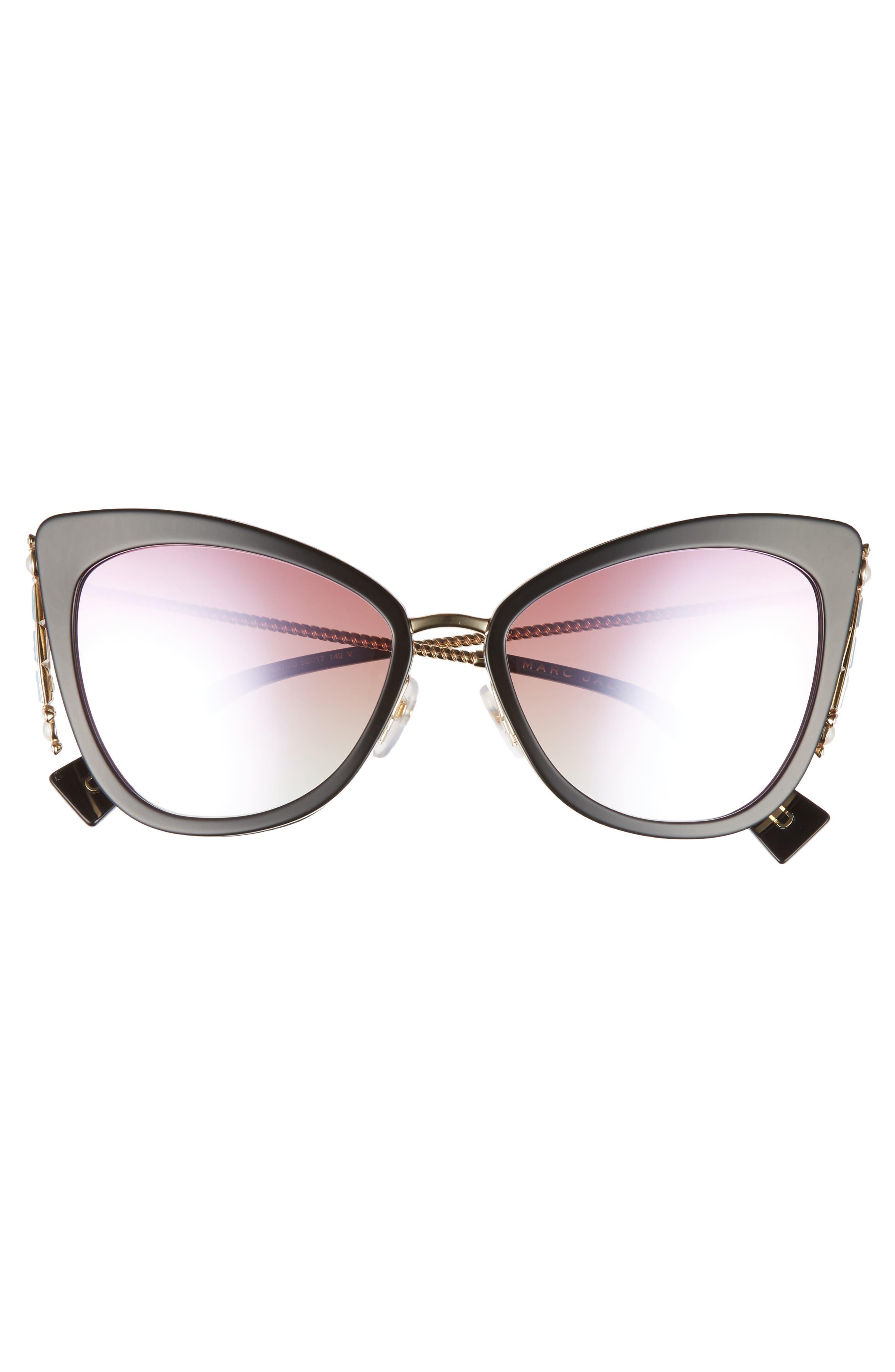 Embellished 56mm Cat Eye Sunglasses,                             Alternate thumbnail 3, color,                             400