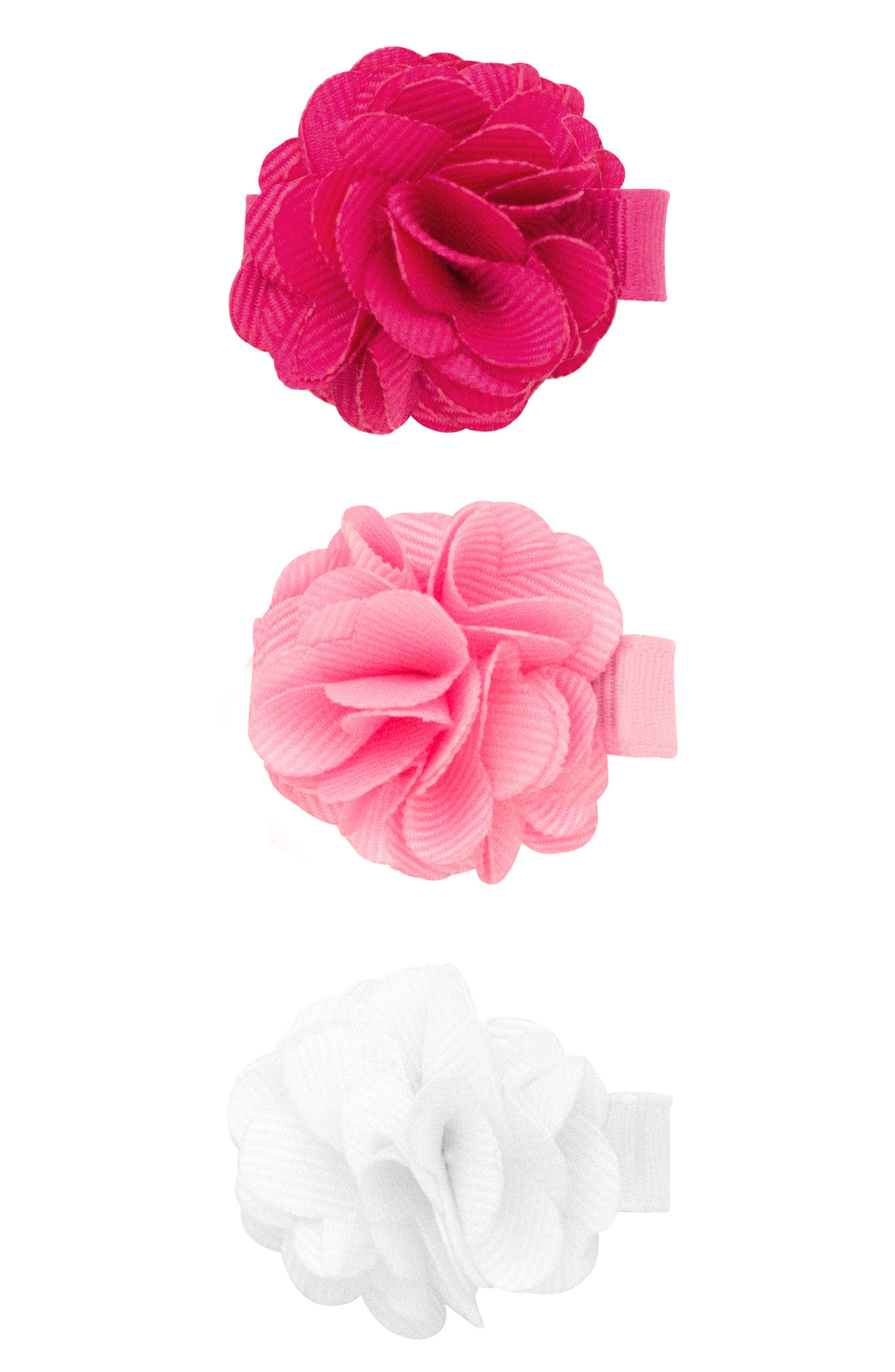Set of 3 Flower Hair Clips,                             Main thumbnail 1, color,                             SHOCKING PINK
