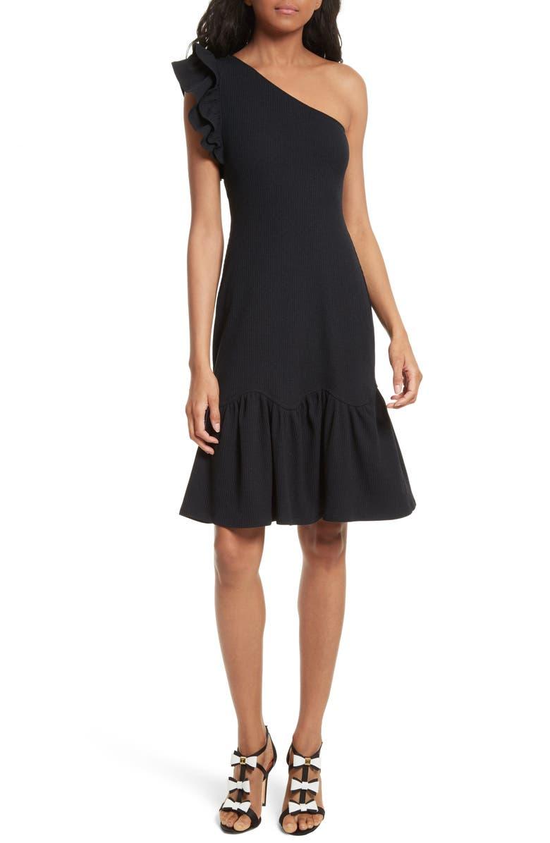 4019bccc87 Rebecca Taylor One-Shoulder Ribbed Jersey Dress