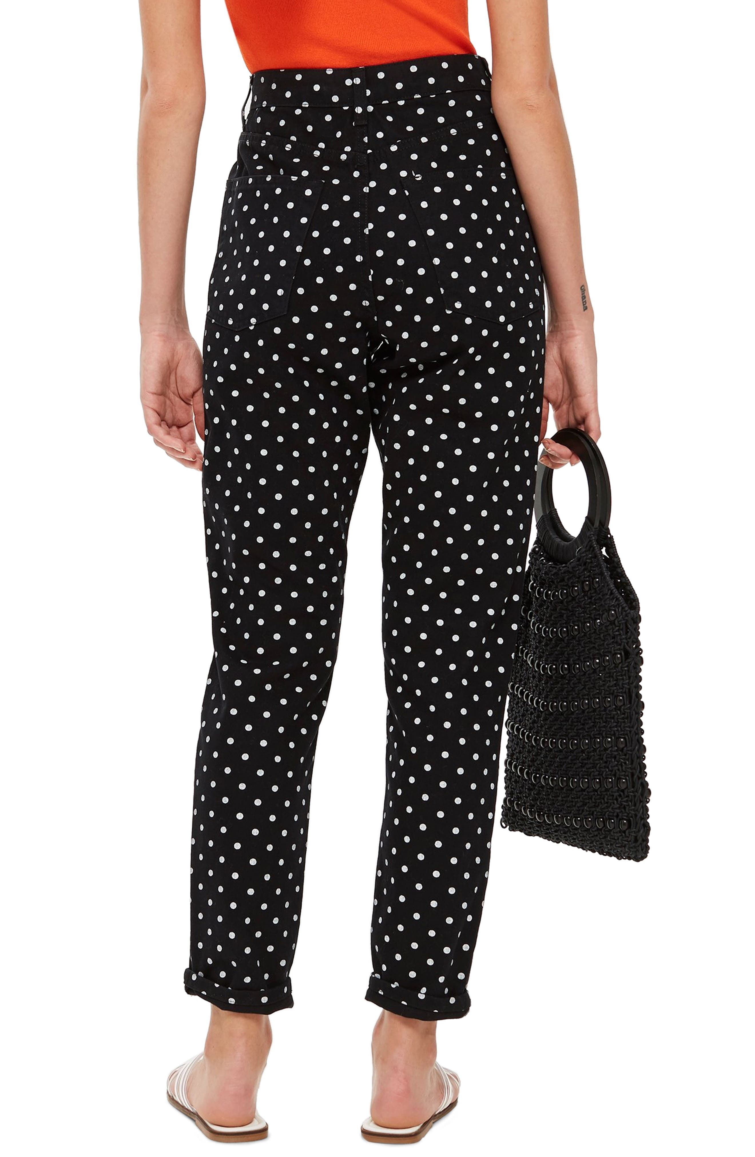 MOTO Polka Dot Mom Jeans,                             Alternate thumbnail 2, color,                             BLACK MULTI