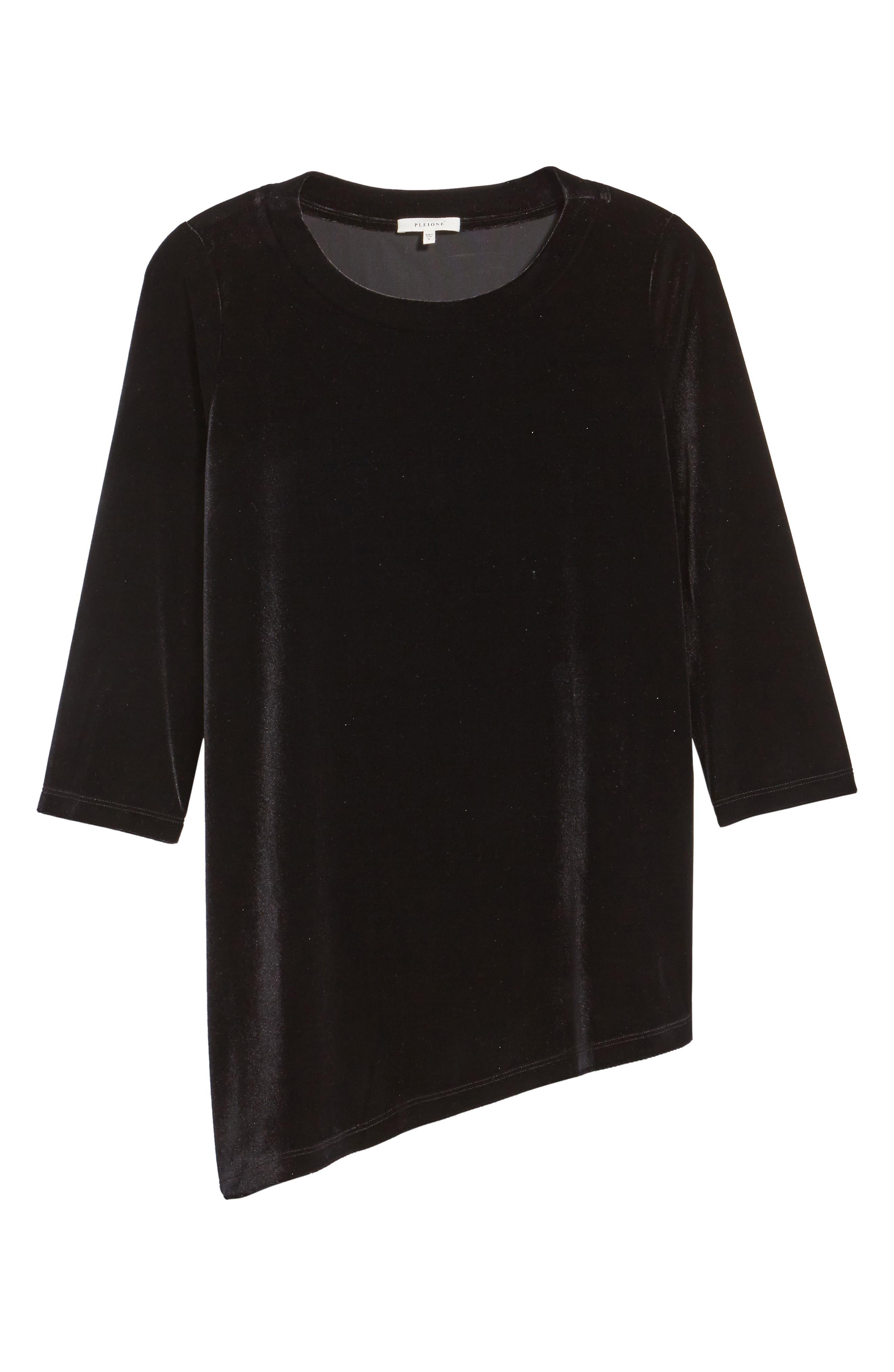 Asymmetrical Velvet Tunic,                             Alternate thumbnail 6, color,                             BLACK